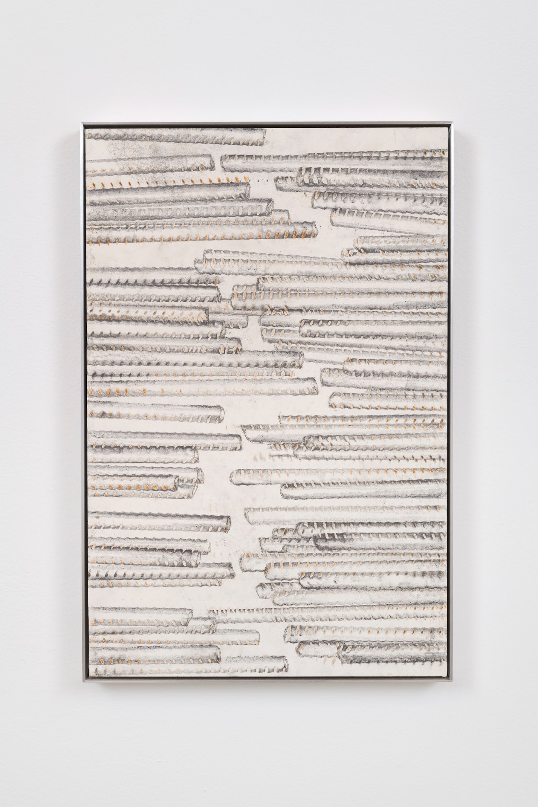 "Ruben Ochoa ""Untitled,"" 2017 Intaglio with rust and graphite on paper 25"" x 16 ¹⁄₂"" x 1 ¹⁄₂"" [HxWxD] (63.5 x 41.91 x 3.81 cm) Inventory #OCH353 Courtesy of the artist and Vielmetter Los Angeles Photo credit: Jeff McLane Signed and dated in ink on recto"