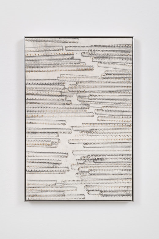 "Ruben Ochoa ""Untitled,"" 2017 Intaglio with rust and graphite on paper 25 x 16.5 x 1.5"" [HxWxD] (63.5 x 41.91 x 3.81 cm)"
