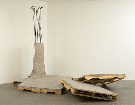 This is an artwork titled 4-Part Amalgamated Infraction (the last one was inevitable) by artist Ruben Ochoa made in 2007