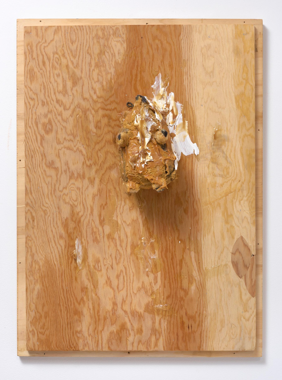 "Pope.L ""Trophy (Hedgehog),"" 2007 Wood, stuffed animal, oil paint, acrylic paint, acrylic medium, peanut butter, screws 32"" H x 23.50"" W x 7"" D (81.28 cm H x 59.69 cm W x 17.78 cm D) Inventory #POP137 Courtesy of the Artist and Vielmetter Los Angeles. © Pope.L Photo credit: Robert Wedemeyer"