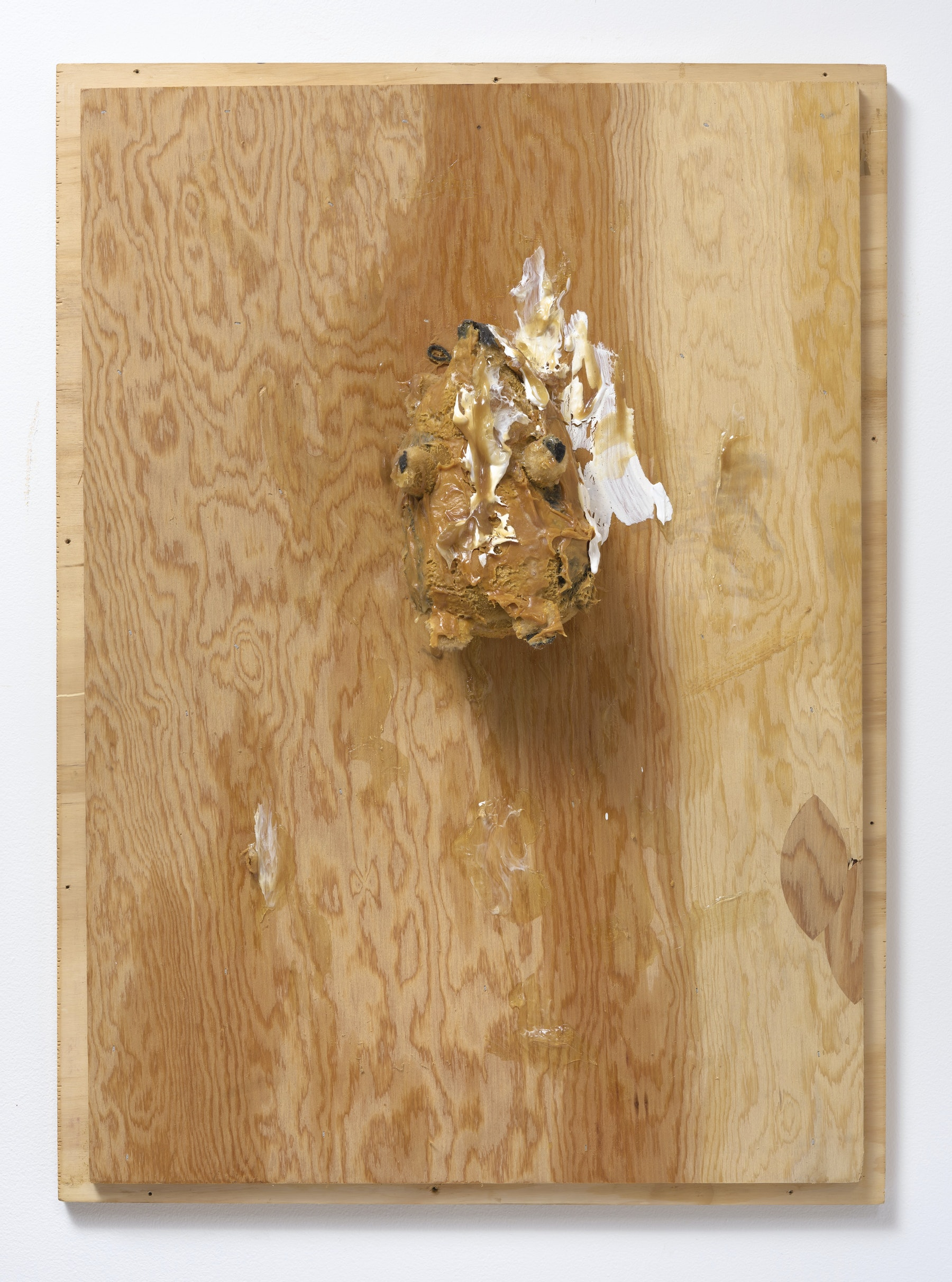 "Pope.L ""Trophy (Hedgehog),"" 2007 Wood, stuffed animal, oil paint, acrylic paint, acrylic medium, peanut butter, screws 32"" H x 23.50"" W x 7"" D (81.28 cm H x 59.69 cm W x 17.78 cm D) Inventory #POP137 Courtesy of the Artist and Vielmetter Los Angeles. © Pope.L Photo credit: Robert Wedemeyer"