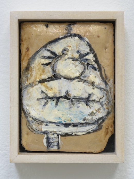 """Pope.L """"Tart,"""" 1998 - 2000 Pencil, ball point pen, and marker on Pop Tart 4.75"""" H x 3.75"""" W x 1"""" D (12.07 cm H x 9.53 cm W x 2.54 cm D) framed Inventory #POP162 Courtesy of the Artist and Vielmetter Los Angeles. © Pope.L Photo credit: Robert Wedemeyer"""