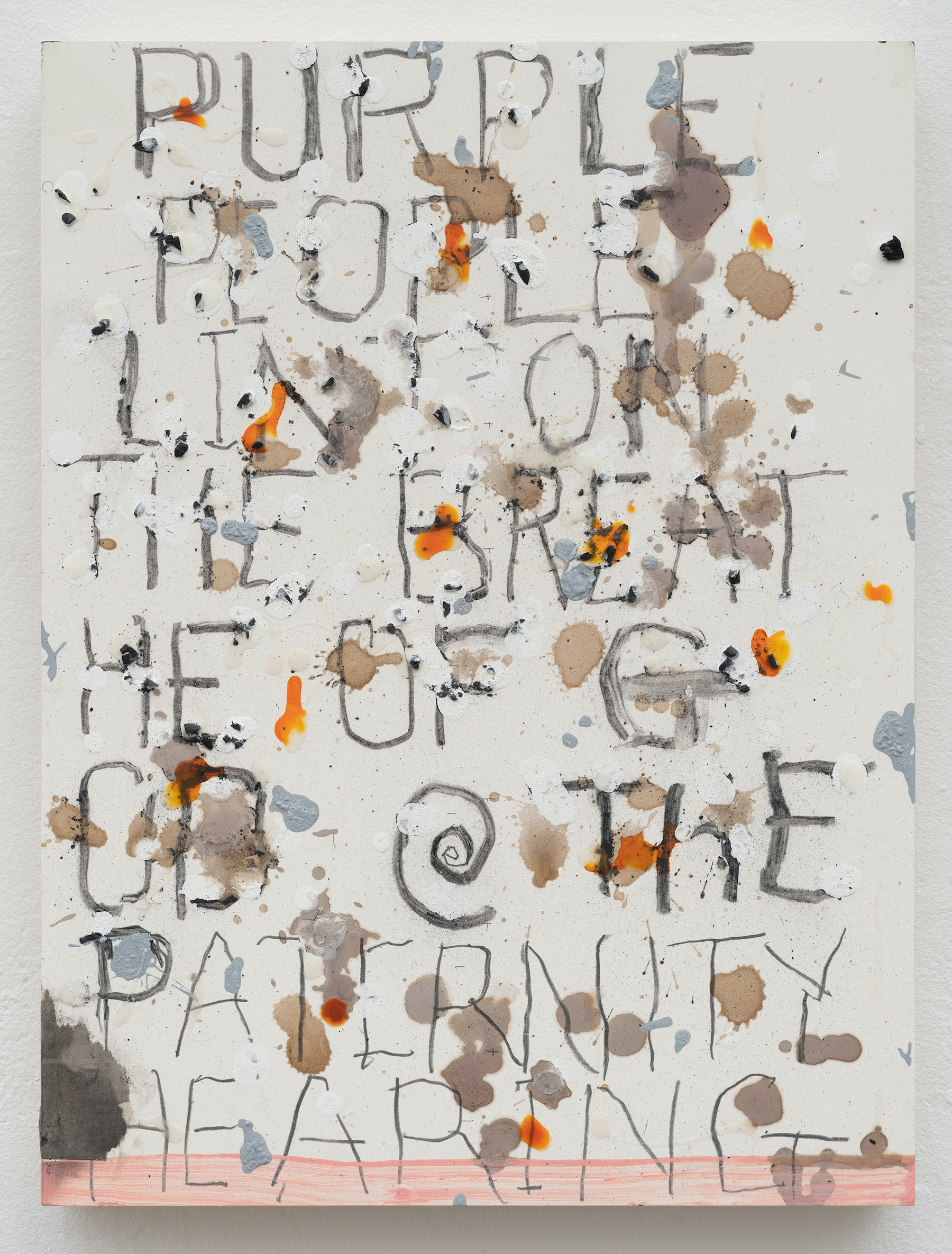 """Pope.L """"Hearing, A Sense Of,"""" 2019 Acrylic, ink, matte medium, wine, and coffee on panel 16"""" x 12"""" x 1 ¹⁄₂"""" [HxWxD] (40.64 x 30.48 x 3.81 cm) Inventory #POP343 Courtesy of the Artist and Vielmetter Los Angeles. © Pope.L Photos credit: James Prinz"""