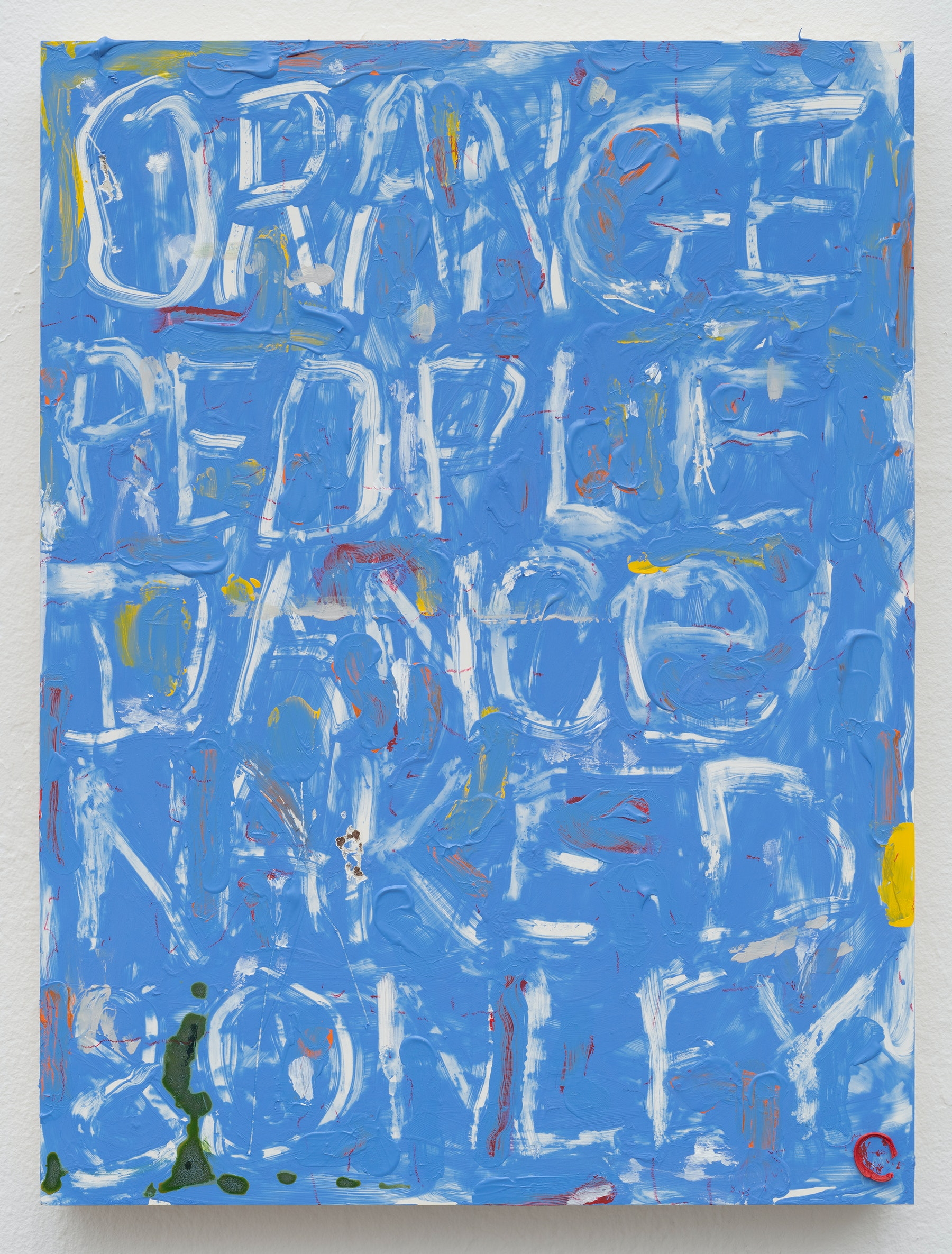 """Pope.L """"Blue Painting with Words and Other Things,"""" 2019 Acrylic, oil, ink, and pastel on panel 16 x 12 x 1.5"""" [HxWxD] (40.64 x 30.48 x 3.81 cm) Inventory #POP344 Courtesy of the Artist and Vielmetter Los Angeles. © Pope.L Photos credit: James Prinz"""