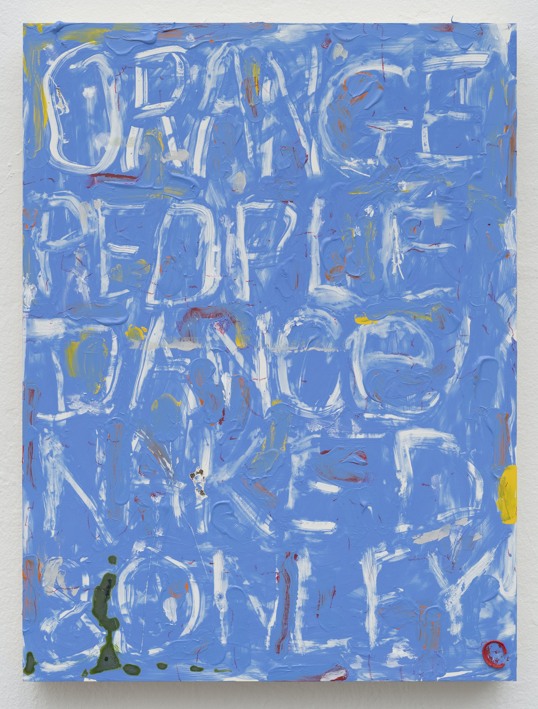 "Pope.L ""Blue Painting with Words and Other Things,"" 2019 Acrylic, oil, ink, and pastel on panel 16 x 12 x 1.5"" [HxWxD] (40.64 x 30.48 x 3.81 cm) Inventory #POP344 Courtesy of the Artist and Vielmetter Los Angeles. © Pope.L Photos credit: James Prinz"