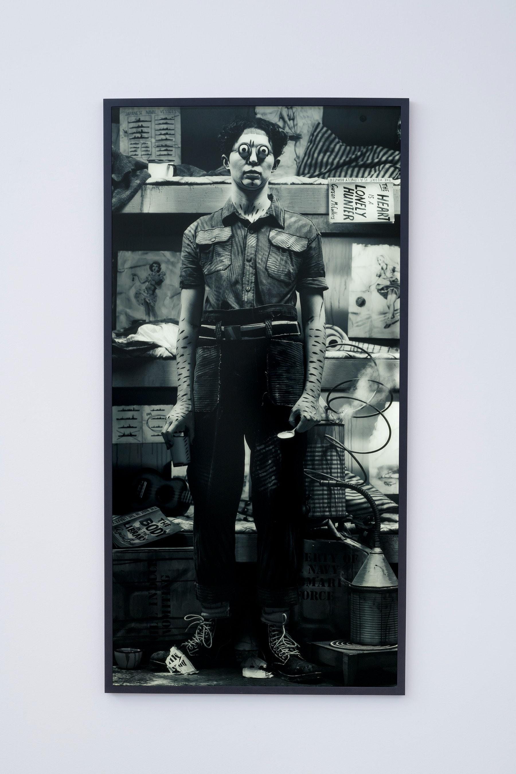 "Mary Reid Kelley, Patrick Kelley ""Torpedo Juice,"" 2017 Photograph, transparency on lightbox 73 ¹⁄₄"" x 37 ¹⁄₄"" x 1 ¹⁄₂"" [HxWxD] (186.06 x 94.62 x 3.81 cm) Edition 3 of 4, 2 AP Inventory #MRK156.03 Courtesy of the artist and Vielmetter Los Angeles Photo credit: Robert Wedemeyer"