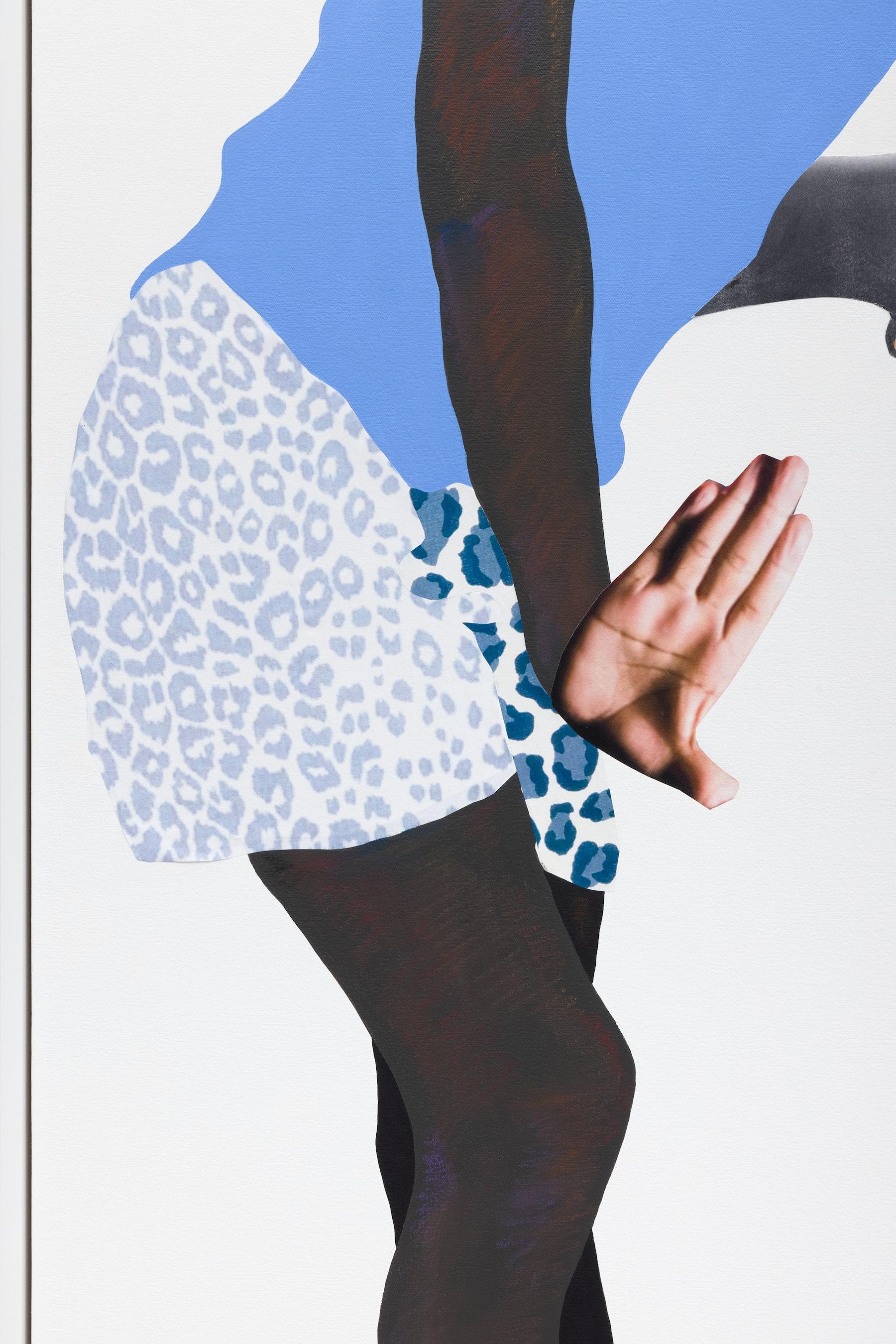 "Deborah Roberts ""Building hope,"" 2021 Mixed media collage on canvas 70"" x 70"" [HxW] (177.8 x 177.8 cm); 71 ¹⁄₂"" x 71 ¹⁄₂"" x 2 ¹⁄₄"" [HxWxD] (181.61 x 181.61 x 5.71 cm) framed Inventory #ROB451 Courtesy of the artist and Vielmetter Los Angeles Photo credit: Jeff McLane"