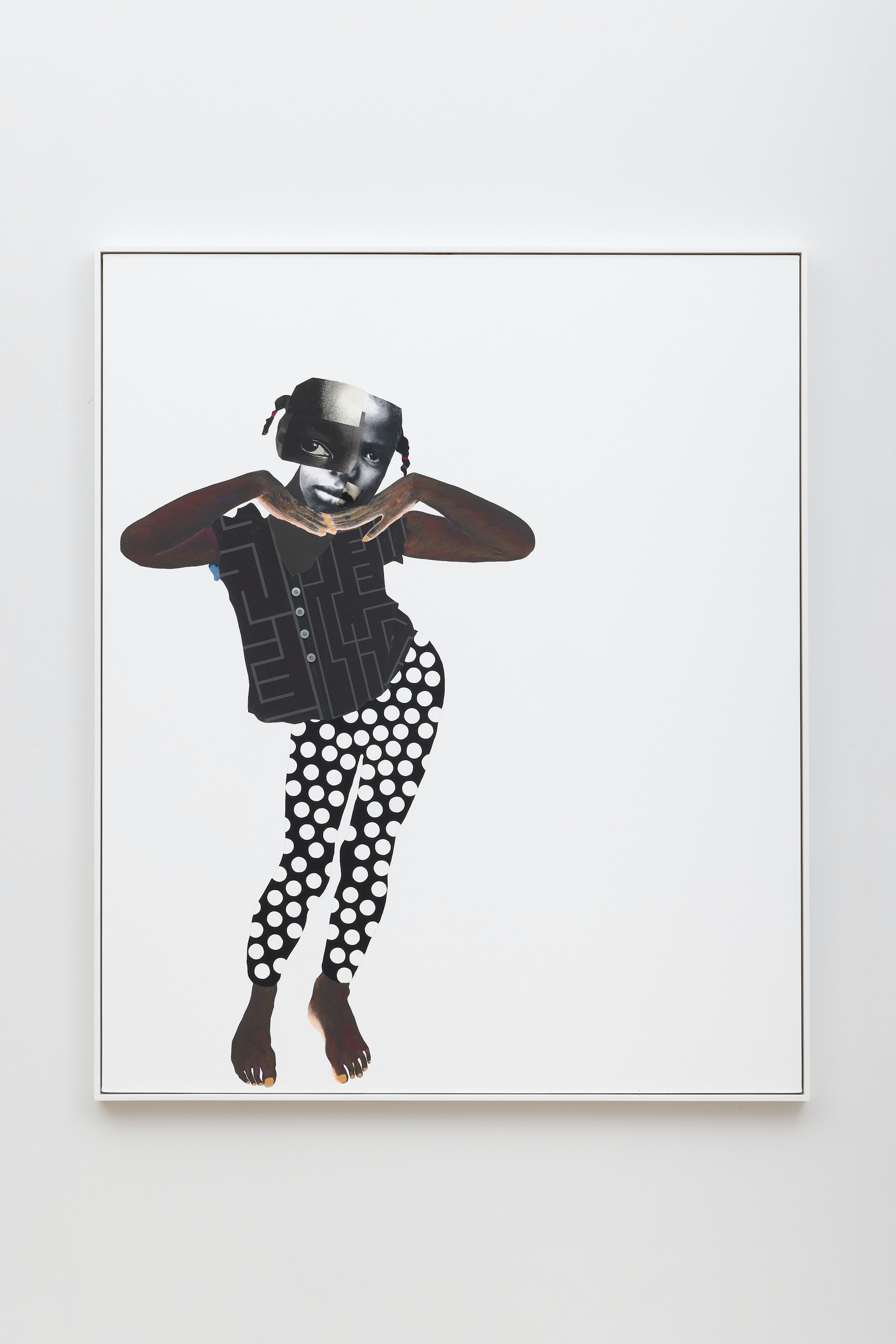 """Deborah Roberts """"Spell bound,"""" 2021 Mixed media collage on canvas 72"""" x 60"""" [HxW] (182.88 x 152.4 cm); 73 ¹⁄₂"""" x 61 ¹⁄₂"""" x 2 ¹⁄₄"""" [HxWxD] (186.69 x 156.21 x 5.71 cm) framed Inventory #ROB452 Courtesy of the artist and Vielmetter Los Angeles Photo credit: Jeff McLane"""