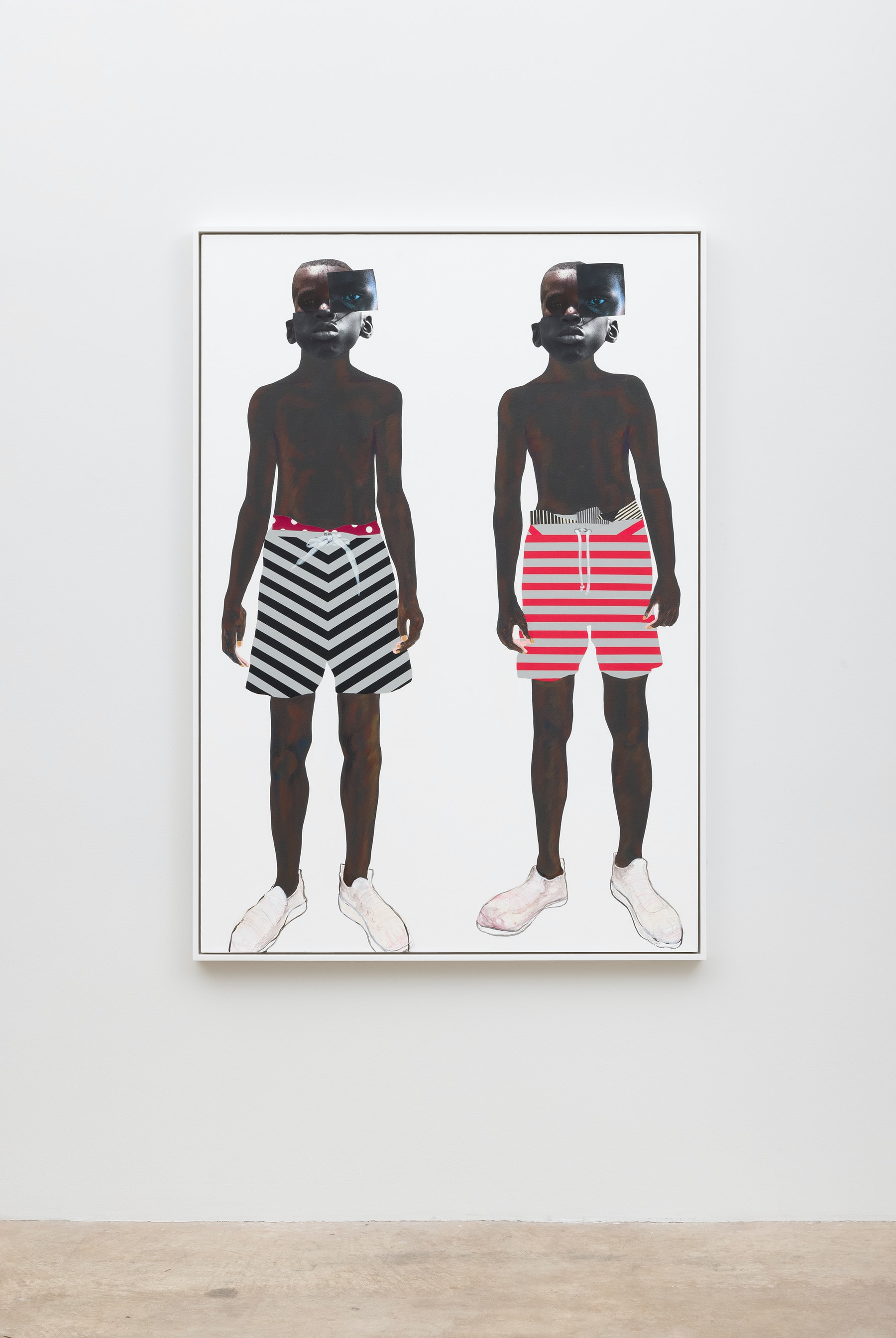 "Deborah Roberts ""Pool boys,"" 2019 Mixed media collage on canvas 65"" x 45"" [HxW] (165.1 x 114.3 cm); 66 ¹⁄₂"" x 46 ¹⁄₂"" x 2 ¹⁄₄"" [HxWxD] (168.91 x 118.11 x 5.71 cm) framed Inventory #ROB453 Courtesy of the artist and Vielmetter Los Angeles Photo credit: Jeff McLane"