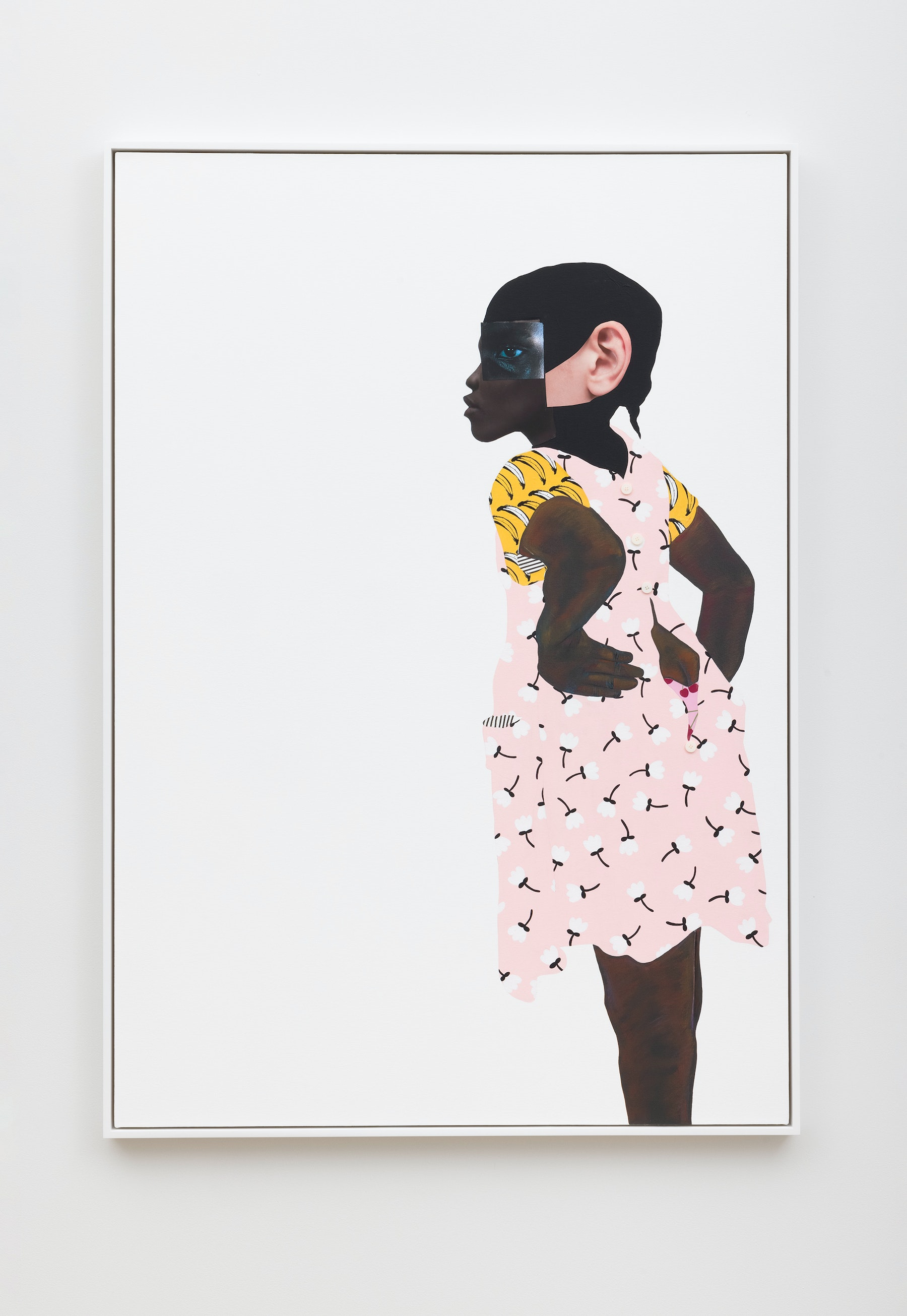 """Deborah Roberts """"That's not ladylike (No. 3),"""" 2020 Mixed media collage on canvas 65"""" x 45"""" [HxW] (165.1 x 114.3 cm); 66 ¹⁄₂"""" x 46 ¹⁄₂"""" x 2 ¹⁄₄"""" [HxWxD] (168.91 x 118.11 x 5.71 cm) framed Inventory #ROB454 Courtesy of the artist and Vielmetter Los Angeles Photo credit: Jeff McLane"""
