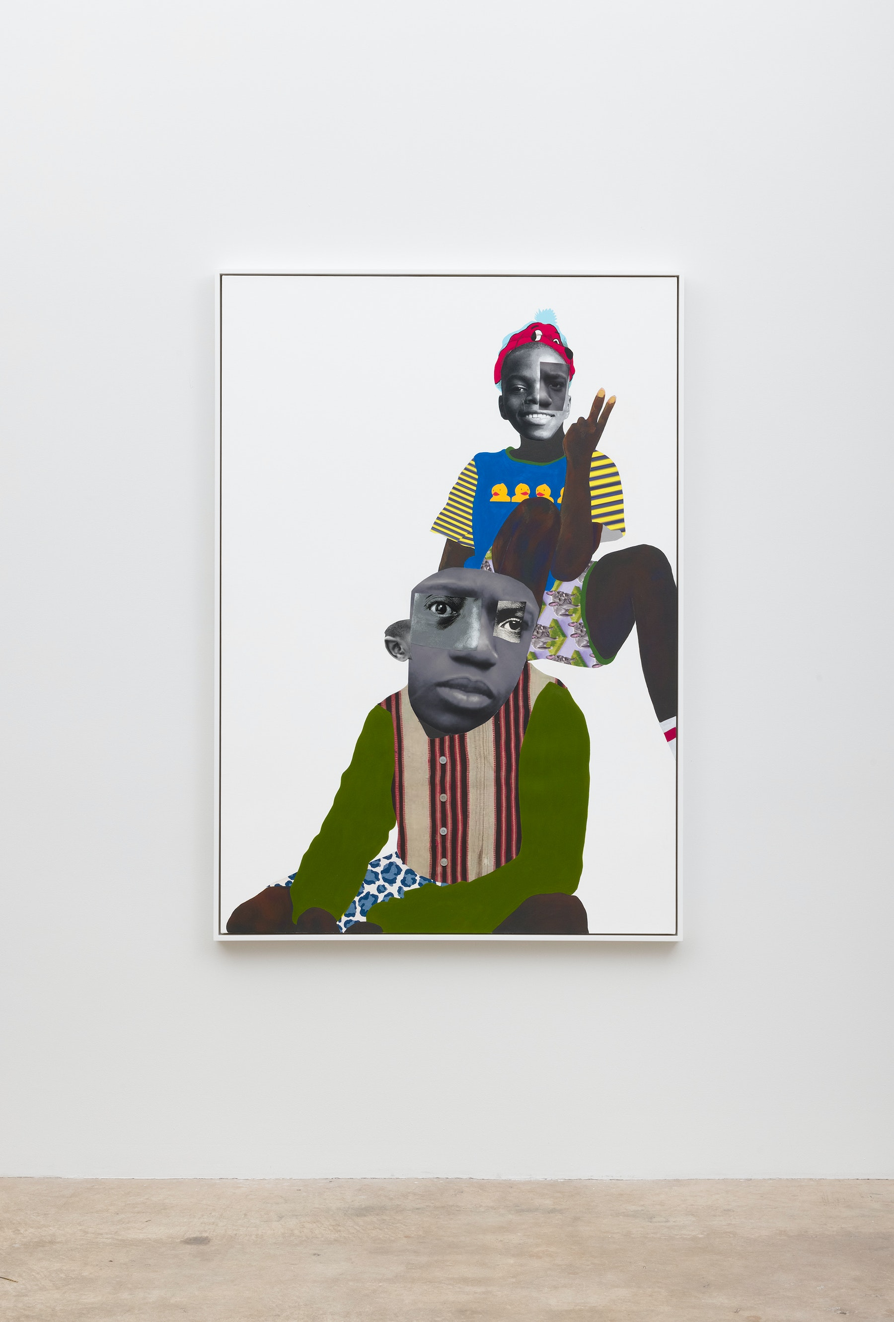 """Deborah Roberts """"Notorious Act: at play,"""" 2021 Mixed media collage on canvas 65"""" x 45"""" [HxW] (165.1 x 114.3 cm); 66 ¹⁄₂"""" x 46 ¹⁄₂"""" x 2 ¹⁄₄"""" [HxWxD] (168.91 x 118.11 x 5.71 cm) framed Inventory #ROB456 Courtesy of the artist and Vielmetter Los Angeles Photo credit: Jeff McLane"""