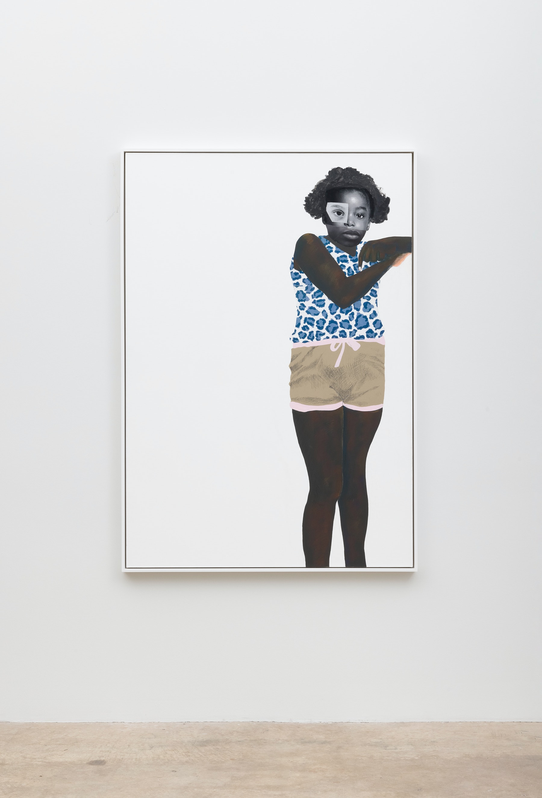 """Deborah Roberts """"Becoming,"""" 2021 Mixed media collage on canvas 65"""" x 45"""" [HxW] (165.1 x 114.3 cm); 66 ¹⁄₂"""" x 46 ¹⁄₂"""" x 2 ¹⁄₄"""" [HxWxD] (168.91 x 118.11 x 5.71 cm) framed Inventory #ROB457 Courtesy of the artist and Vielmetter Los Angeles Photo credit: Jeff McLane"""