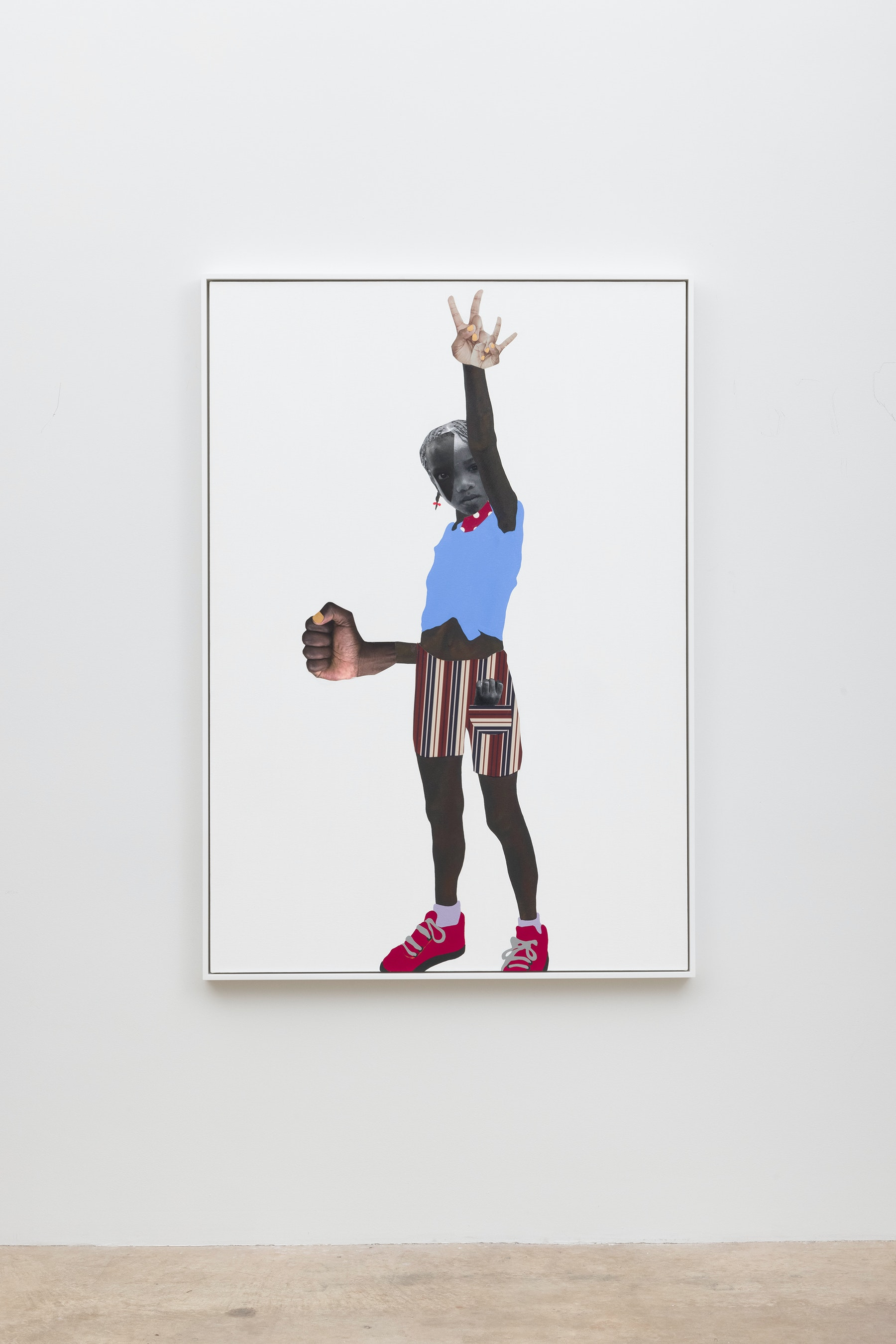 """Deborah Roberts """"Let's not give up,"""" 2020 Mixed media collage on canvas 65"""" x 45"""" [HxW] (165.1 x 114.3 cm); 66 ¹⁄₂"""" x 46 ¹⁄₂"""" x 2 ¹⁄₄"""" [HxWxD] (168.91 x 118.11 x 5.71 cm) framed Inventory #ROB458 Courtesy of the artist and Vielmetter Los Angeles Photo credit: Jeff McLane"""