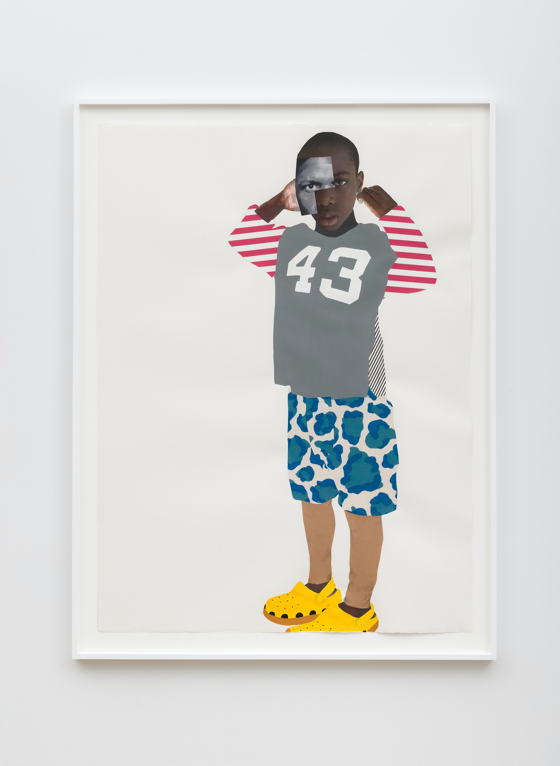 """Deborah Roberts """"They don't know,"""" 2021 Mixed media collage on paper 52"""" x 38"""" [HxW] (132.08 x 96.52 cm); 56 ¹⁄₂"""" x 42 ³⁄₄"""" x 1 ³⁄₄"""" [HxWxD] (143.51 x 108.58 x 4.44 cm) framed Inventory #ROB459 Courtesy of the artist and Vielmetter Los Angeles Photo credit: Jeff McLane"""