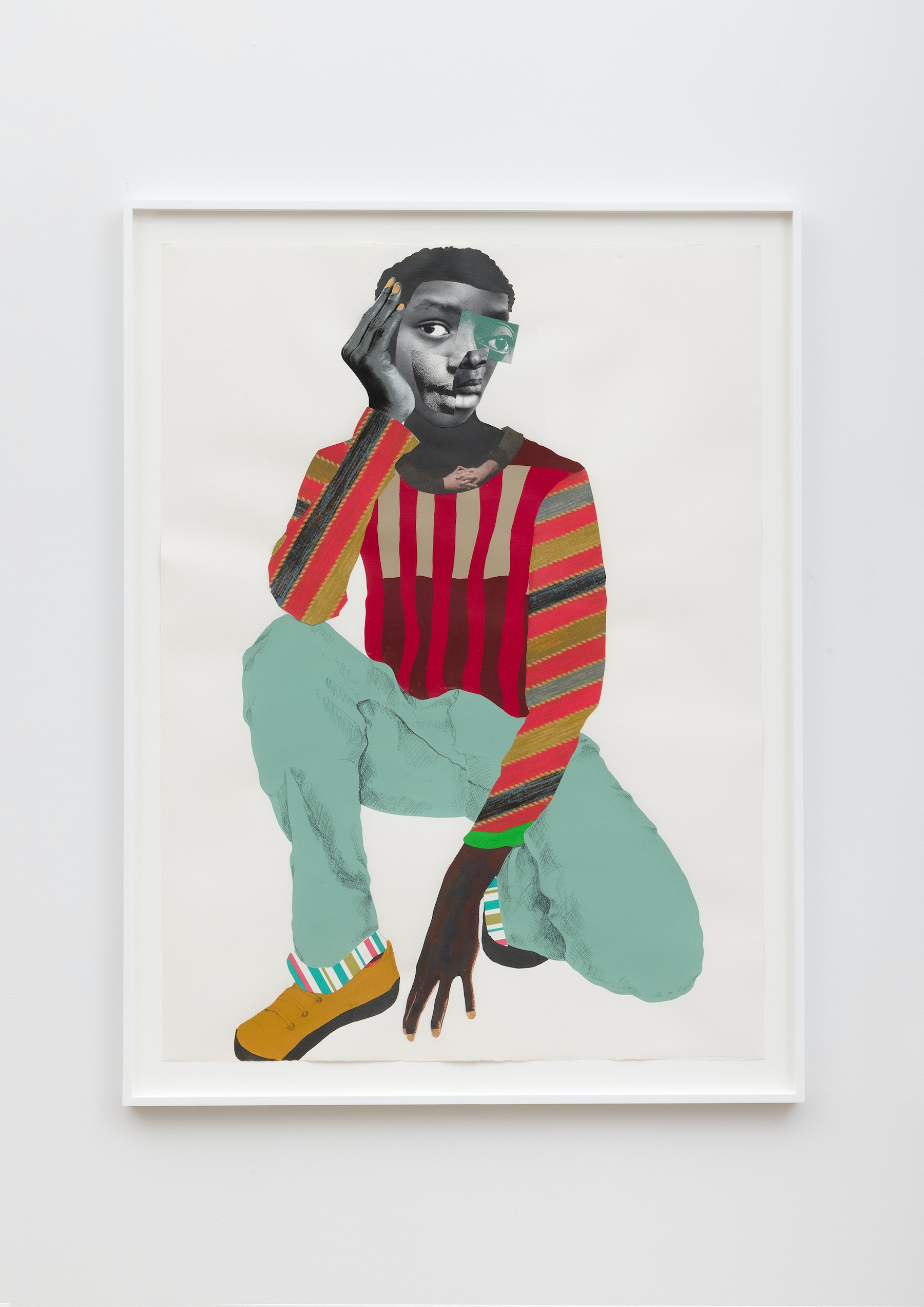 """Deborah Roberts """"The Inconvenient citizen,"""" 2021 Mixed media collage on paper 52"""" x 38"""" [HxW] (132.08 x 96.52 cm); 56 ³⁄₄"""" x 42 ³⁄₄"""" x 1 ³⁄₄"""" [HxWxD] (144.14 x 108.58 x 4.44 cm) framed Inventory #ROB460 Courtesy of the artist and Vielmetter Los Angeles Photo credit: Jeff McLane"""