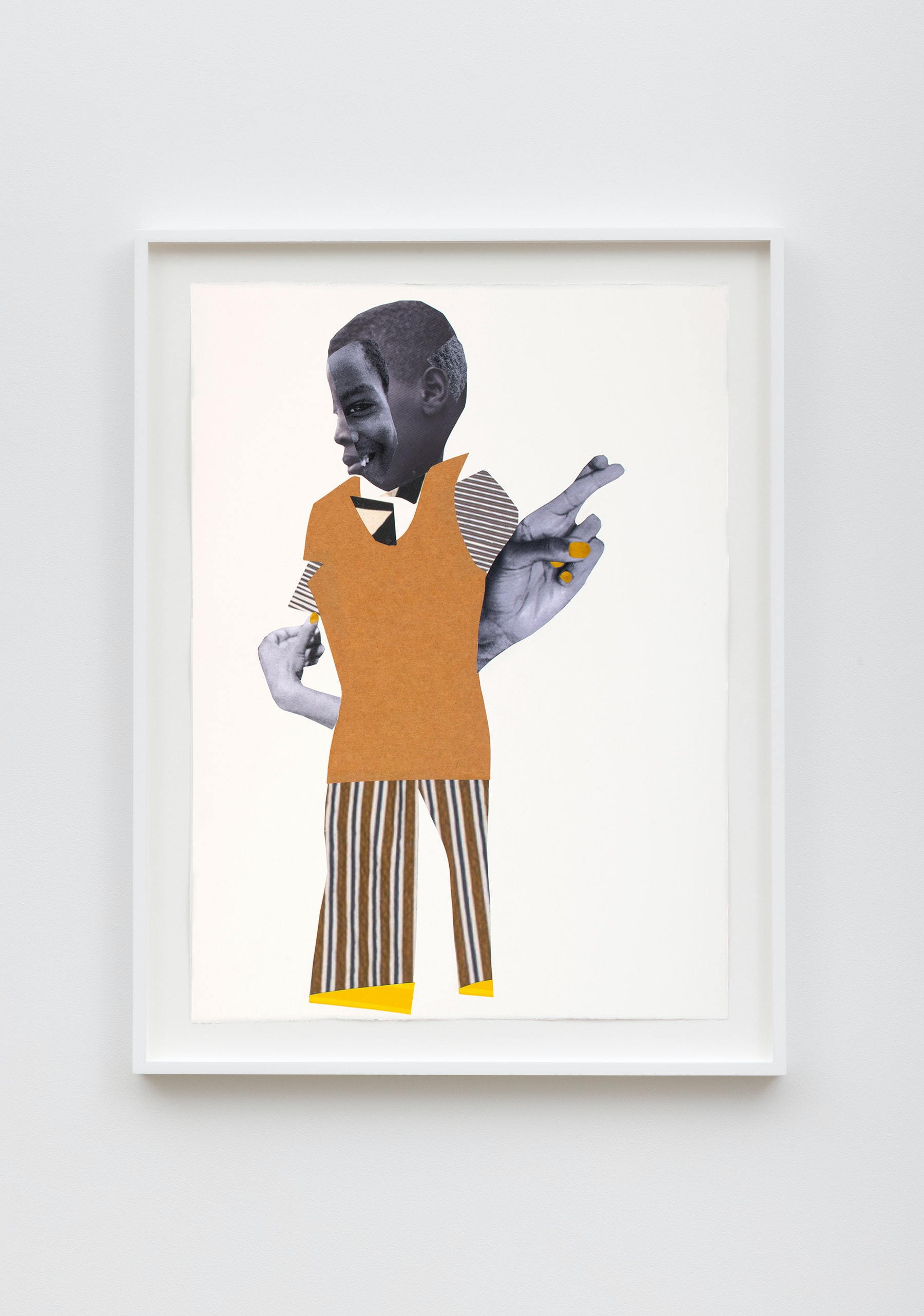 """Deborah Roberts """"The words that carry us,"""" 2021 Mixed media collage on paper 30"""" x 22"""" [HxW] (76.2 x 55.88 cm) Inventory #ROB461 Courtesy of the artist and Vielmetter Los Angeles"""