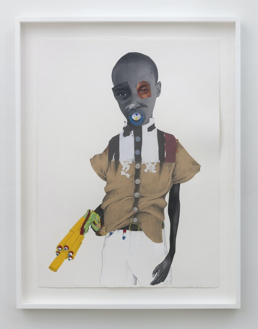 This is an artwork titled Ghost gun by artist Deborah Roberts made in 2018