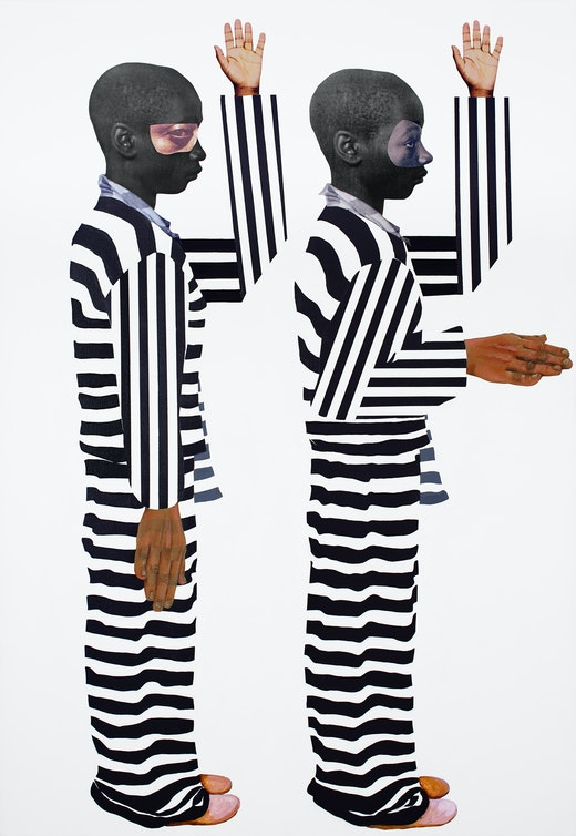 This is an artwork titled I do solemnly swear (Nessun Dorma Series) by artist Deborah Roberts made in 2018