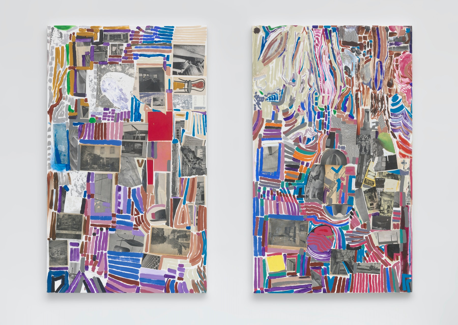 """Steve Roden """"metal mettle metal mettle.,"""" 2020 Acrylic with paper collage 60 x 36"""" [HxW] (152.4 x 91.44 cm) each Inventory #ROD674 Courtesy of the artist and Vielmetter Los Angeles Photo credit: Robert Wedemeyer Signed on back"""