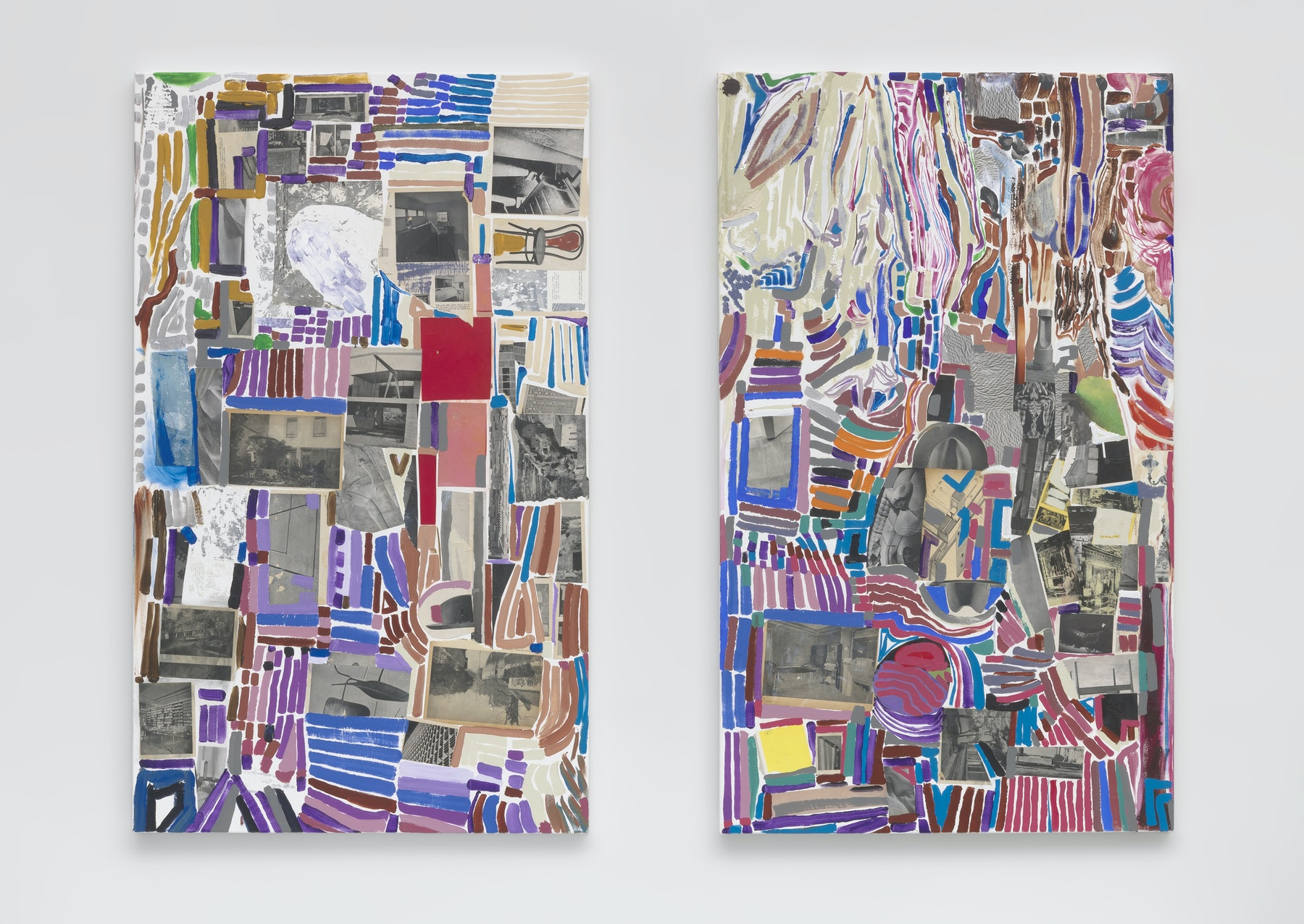 "Steve Roden ""metal mettle metal mettle.,"" 2020 Acrylic with paper collage 60 x 36"" [HxW] (152.4 x 91.44 cm) each Inventory #ROD674 Courtesy of the artist and Vielmetter Los Angeles Photo credit: Robert Wedemeyer Signed on back"