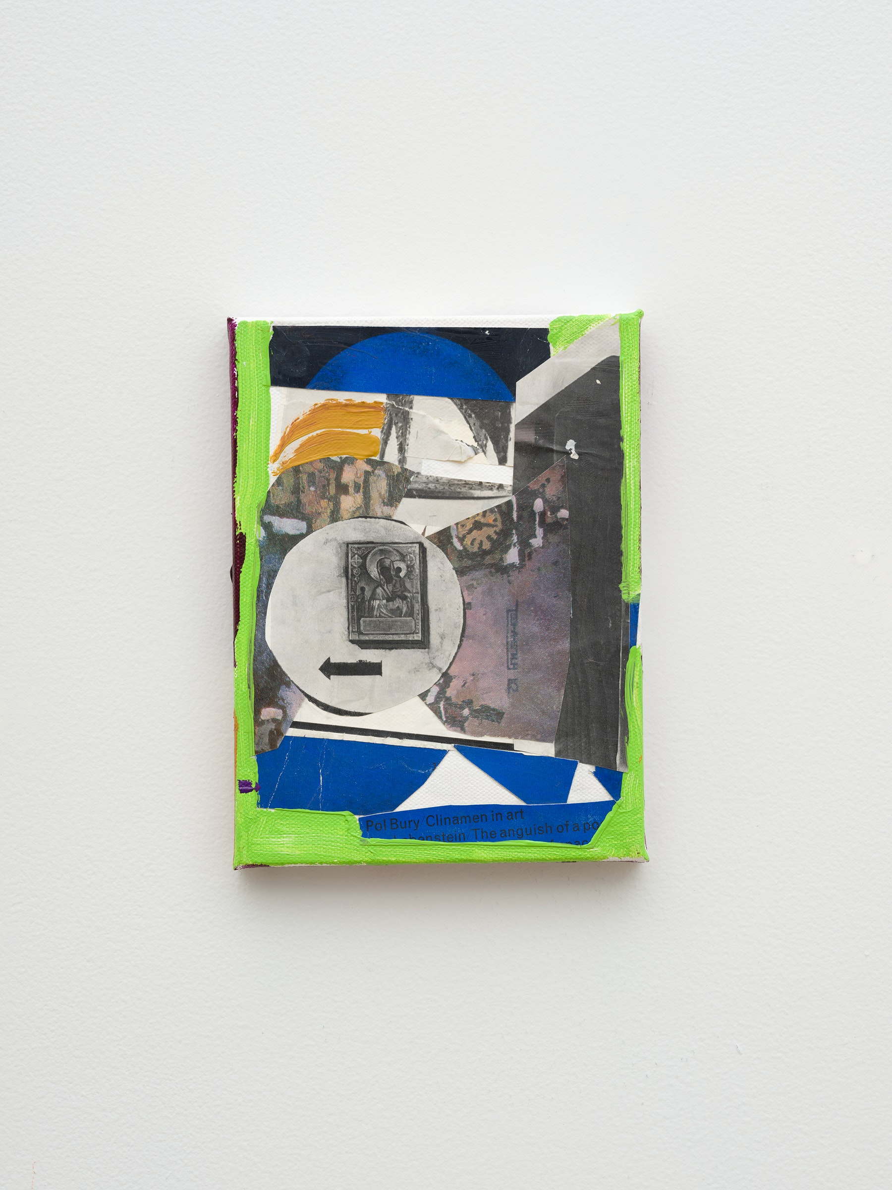 """Steve Roden """"clock,"""" 2020 Mixed media on canvas 8"""" x 6"""" x 1"""" [HxWxD] (20.32 x 15.24 x 2.54 cm) Inventory #ROD685 Courtesy of the artist and Vielmetter Los Angeles Photo credit: Jeff McLane Signed and dated on the back"""