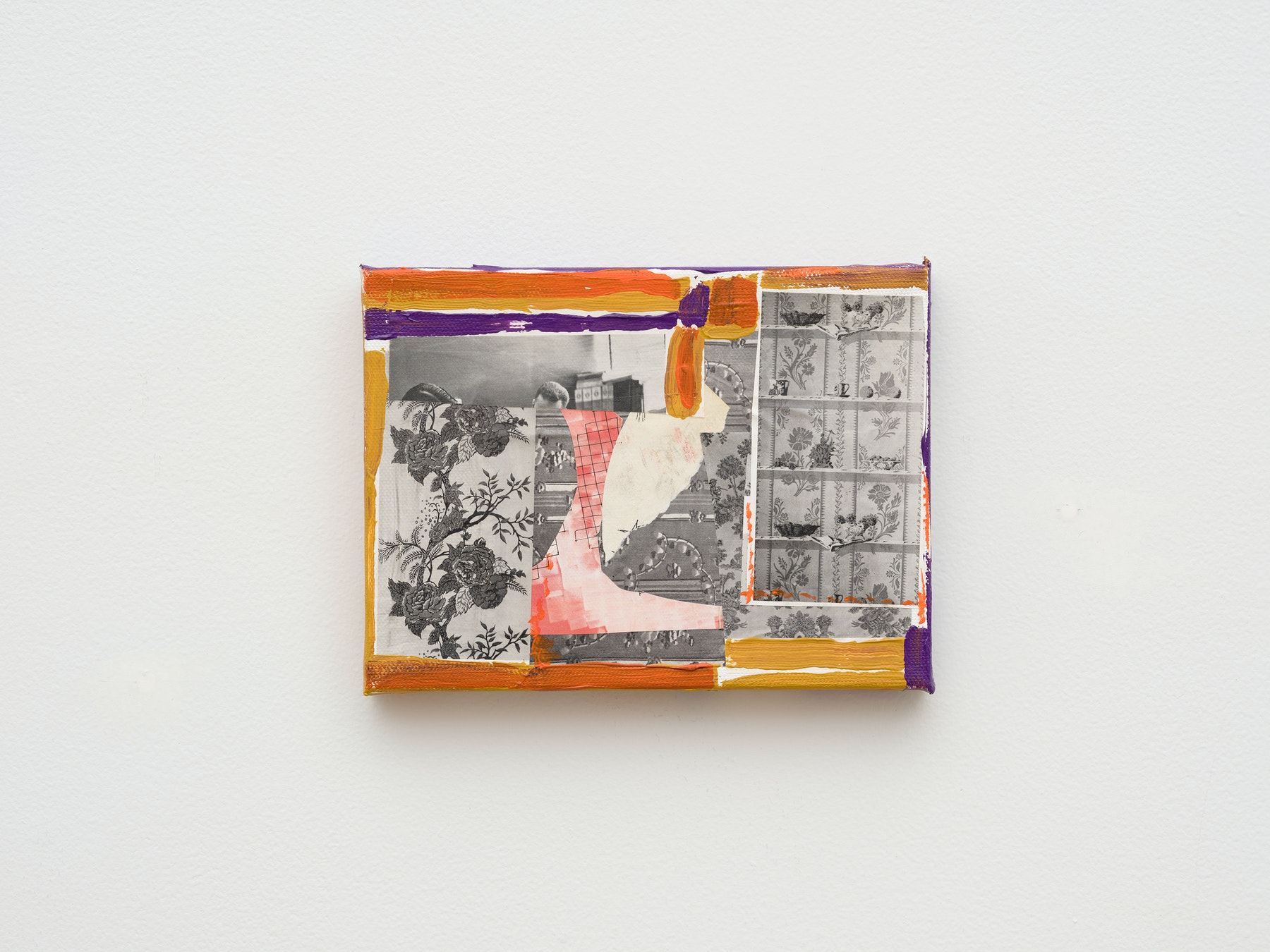 """Steve Roden """"eggs,"""" 2020 Mixed media on canvas 6"""" x 8"""" x 1"""" [HxWxD] (15.24 x 20.32 x 2.54 cm) Inventory #ROD686 Courtesy of the artist and Vielmetter Los Angeles Photo credit: Jeff McLane Signed and dated on the back"""