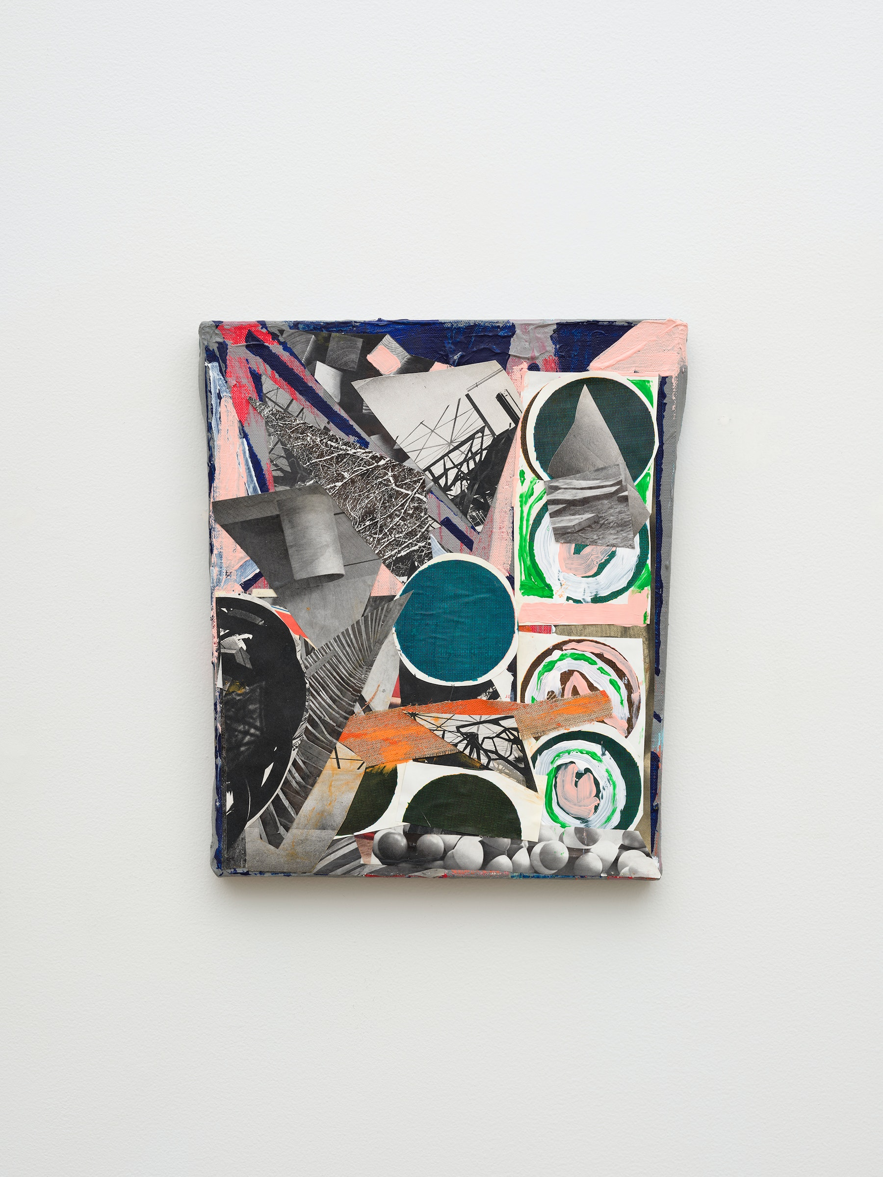 """Steve Roden """"circles,"""" 2020 Mixed media on canvas 14"""" x 11 ¹⁄₄"""" x 1"""" [HxWxD] (35.56 x 28.58 x 2.54 cm) Inventory #ROD698 Courtesy of the artist and Vielmetter Los Angeles Photo credit: Jeff McLane Signed and dated on the back"""