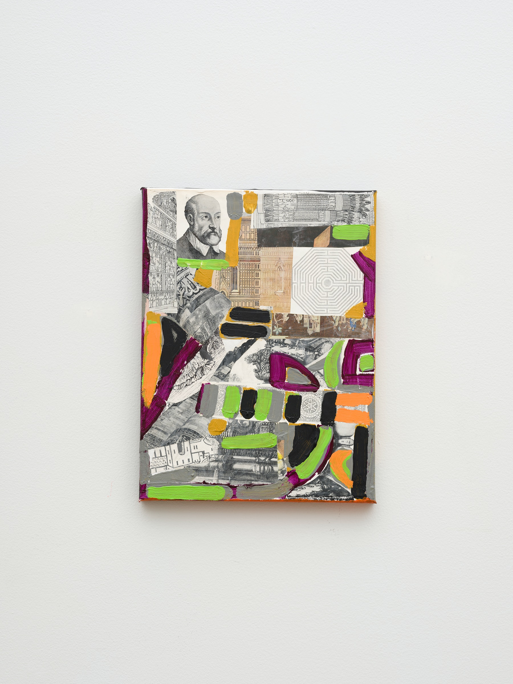 """Steve Roden """"broken,"""" 2020 Mixed media on canvas 12"""" x 9"""" x 1"""" [HxWxD] (30.48 x 22.86 x 2.54 cm) Inventory #ROD699 Courtesy of the artist and Vielmetter Los Angeles Photo credit: Jeff McLane Signed and dated on the back"""