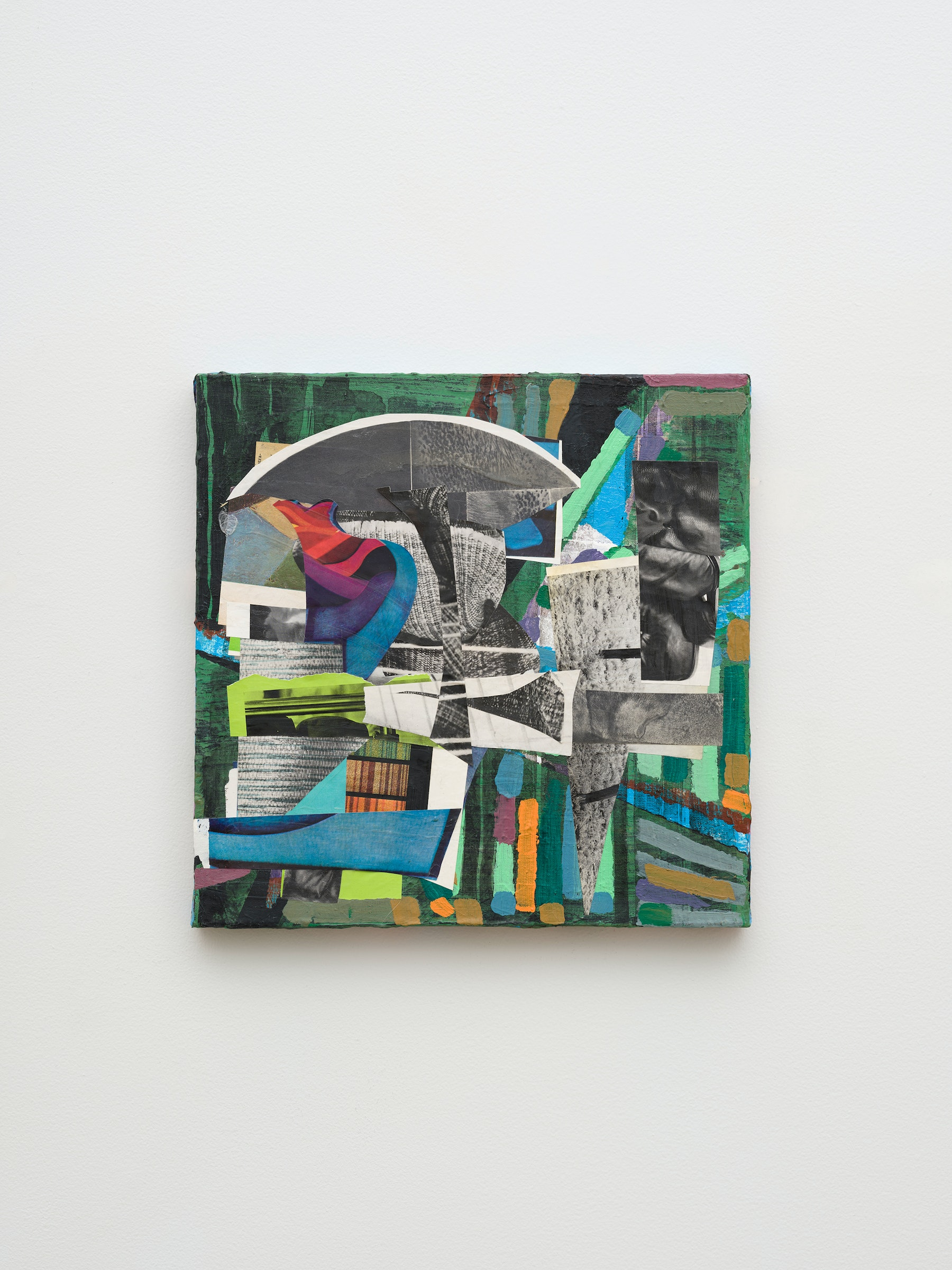 """Steve Roden """"super dog,"""" 2020 Mixed media on canvas 13"""" x 13"""" x 1"""" [HxWxD] (33.02 x 33.02 x 2.54 cm) Inventory #ROD701 Courtesy of the artist and Vielmetter Los Angeles Photo credit: Jeff McLane Signed and dated on the back"""