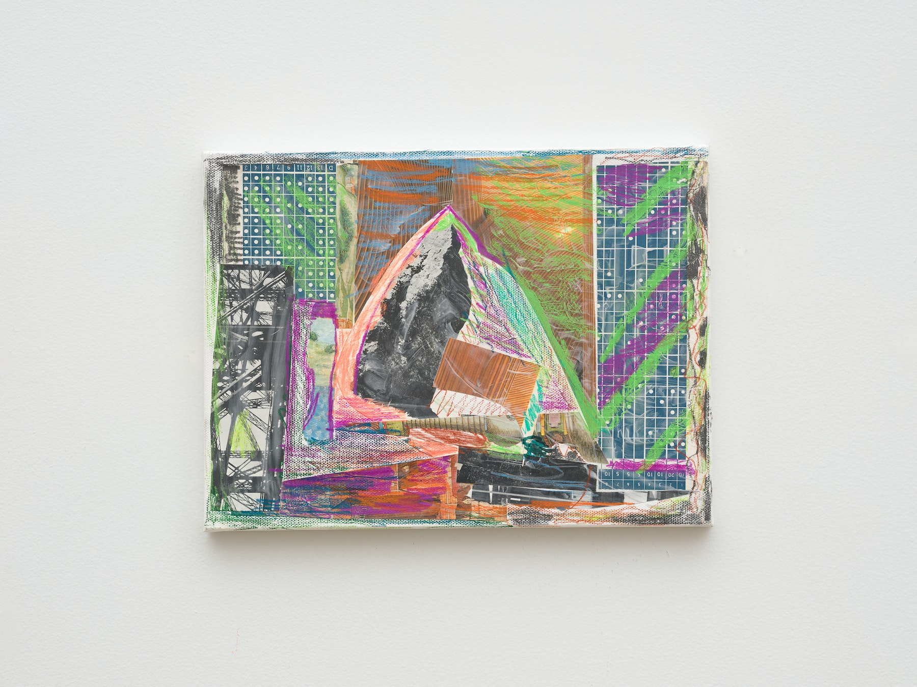 """Steve Roden """"space,"""" 2020 Mixed media on canvas 9"""" x 12"""" x 1"""" [HxWxD] (22.86 x 30.48 x 2.54 cm) Inventory #ROD705 Courtesy of the artist and Vielmetter Los Angeles Photo credit: Jeff McLane Signed and dated on the back"""