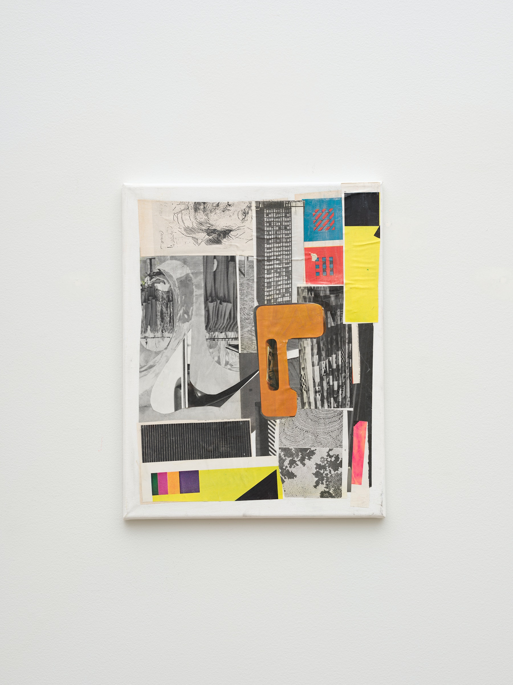 """Steve Roden """"story,"""" 2020 Mixed media on canvas 14"""" x 11"""" x 1"""" [HxWxD] (35.56 x 27.94 x 2.54 cm) Inventory #ROD708 Courtesy of the artist and Vielmetter Los Angeles Photo credit: Jeff McLane Signed and dated on the back"""
