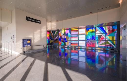 "Sarah Cain ""We Will Walk Right Up To The Sun,"" 2019 [detail] Permanent installation at the San Francisco International Airport Grand Hyatt Hotel Air Train Station, San Francisco, CA"