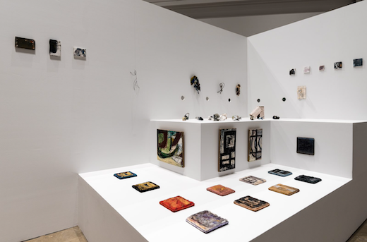 """Louise Fishman Installation view, """"Paper Louise Tiny Fishman Rock,"""" 2016, Institute of Contemporary Art, University of Pennslyvania"""