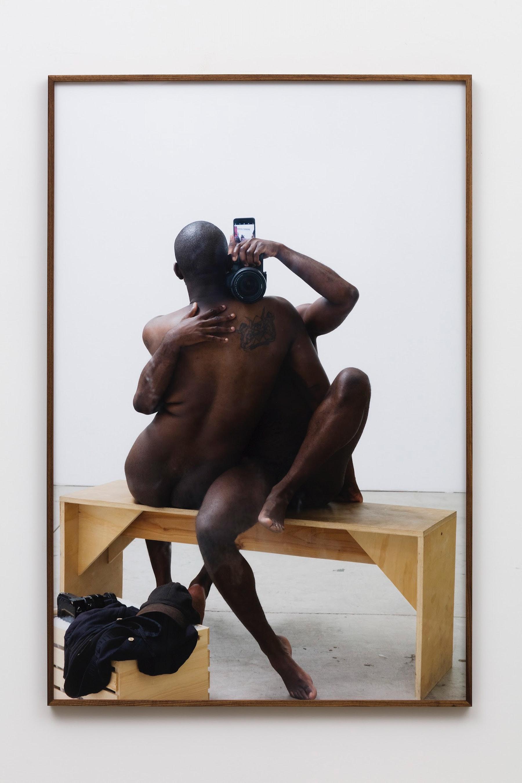 "Paul Mpagi Sepuya ""Figure (0X5A0918),"" 2019 Archival pigment print 75 x 50"" [HxW] (190.5 x 127 cm) print size; 76 x 51 x 2"" [HxWxD] (193.04 x 129.54 x 5.08 cm) framed Edition 4 of 5, 2 AP Inventory #SEP652.04 Courtesy of the artist and Vielmetter Los Angeles Photo credit: Jeff McLane"