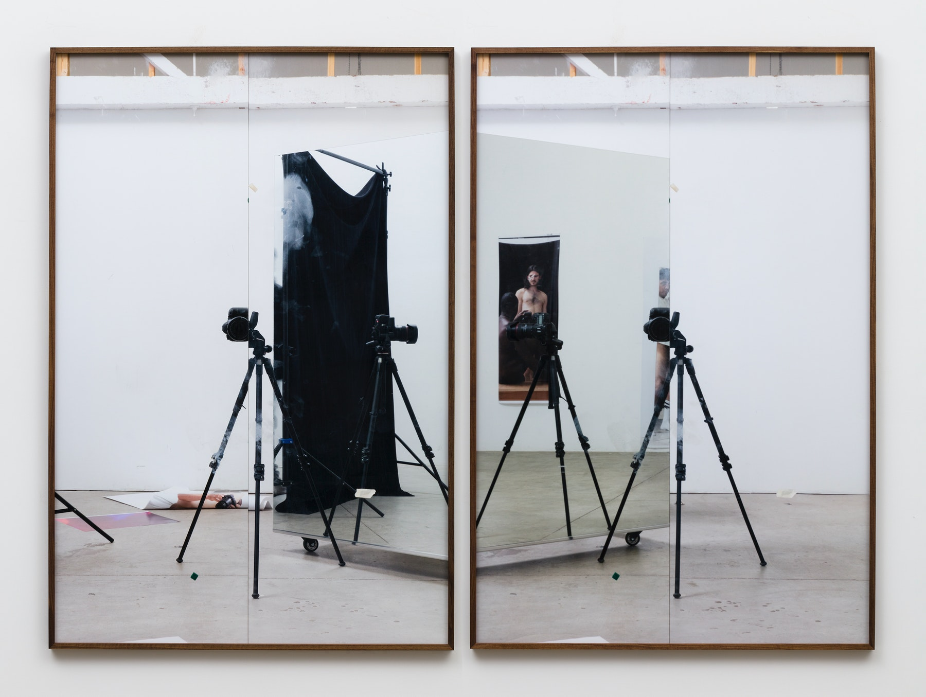 """Paul Mpagi Sepuya """"Studio (0X5A5006, 0X5A5007),"""" 2020 Archival pigment print Diptych, 75 x 50"""" [HxW] (190.5 x 127 cm) each print Edition of 5, 2 AP Inventory #SEP666 Courtesy of the artist and Vielmetter Los Angeles Photo credit: Jeff McLane"""