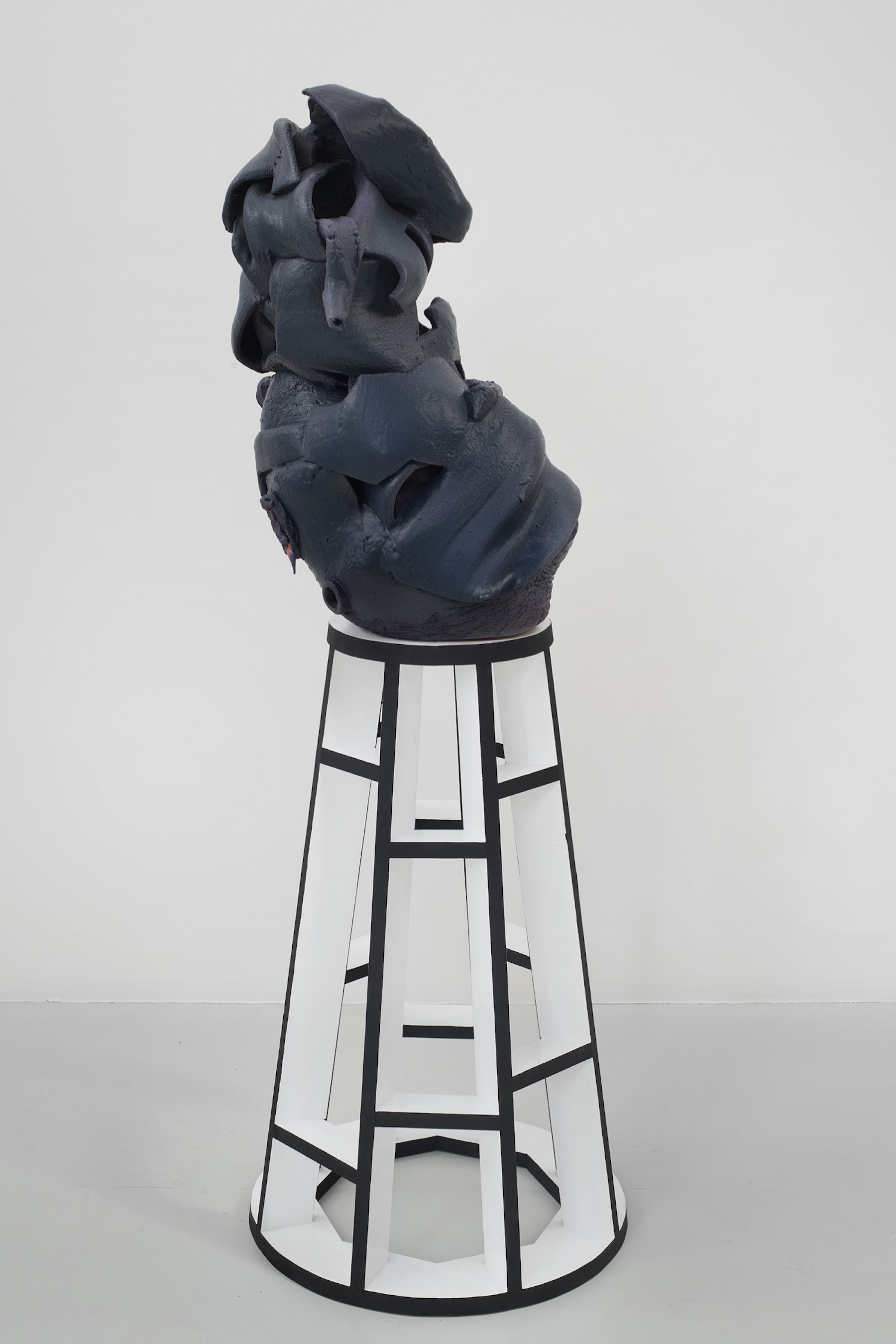 "Arlene Shechet ""Seeing in the Dark,"" 2019 Glazed ceramic, painted hard wood 60 x 21 x 21"" [HxWxD] (152.4 x 53.34 x 53.34 cm) Inventory #SHE131 Courtesy of the artist and Vielmetter Los Angeles. © Arlene Shechet Photo credit: Phoebe d'Heurle"