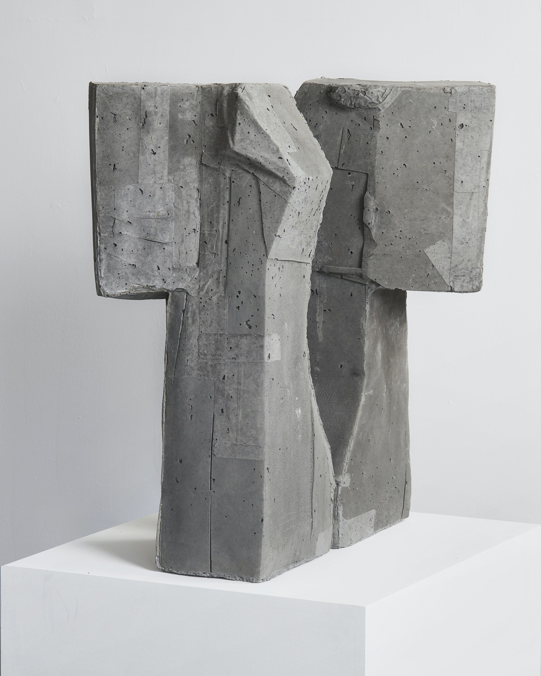 "Arlene Shechet ""Twins,"" 2019 Concrete 33.25 x 18 x 12.5"" [HxWxD] (84.45 x 45.72 x 31.75 cm) each sculpture Inventory #SHE146 Courtesy of the artist and Vielmetter Los Angeles. © Arlene Shechet Photo credit: Robert Wedemeyer"