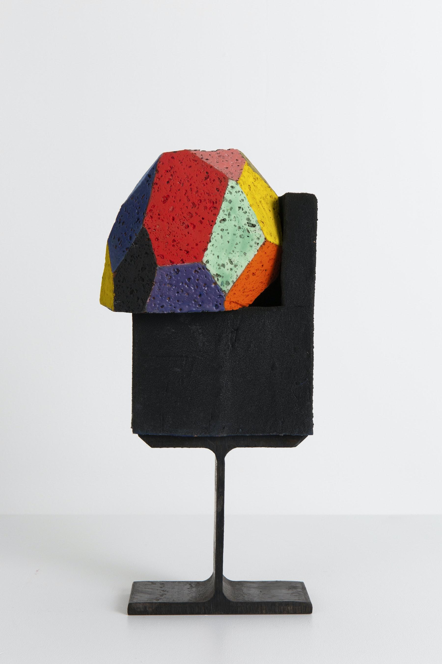 "Arlene Shechet ""Cure,"" 2020 Glazed ceramic, steel 13.25 x 6 x 5.25"" [HxWxD] (33.65 x 15.24 x 13.33 cm) Inventory #SHE159 Courtesy of the artist and Vielmetter Los Angeles. © Arlene Shechet Photo credit: Eva Deitch"