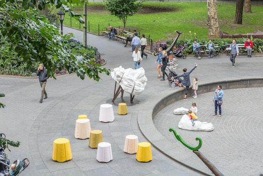 """Arlene Shechet Installation view """"Arlene Shechet: Full Steam Ahead"""" (September 25, 2018 – April 28, 2019), Madison Square Park, New York"""