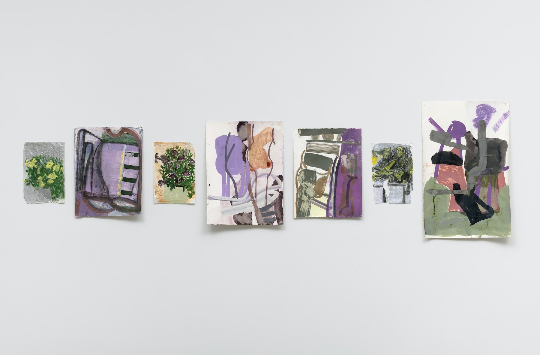 """Amy Sillman """"Petunias 1,"""" """"Untitled,"""" """"Petunias 2,"""" """"Untitled,"""" """"Untitled,"""" """"Untitled,"""" """"Petunias 3,"""" """"Untitled,"""" all 2020 All Acrylic on paper Various Dimensions Courtesy of the artist, Gladstone Gallery, and Vielmetter Los Angeles Photo credit: Robert Wedemeyer"""