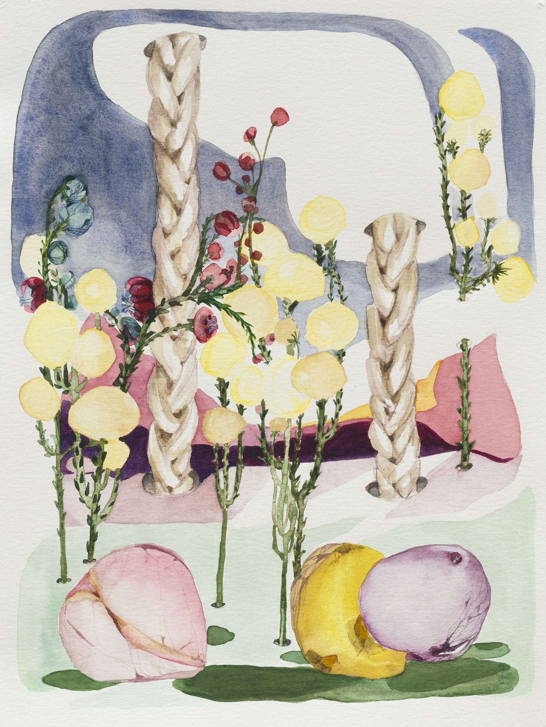 "April Street ""The Garden Early Morning,"" 2020 Watercolor on archival paper 12 x 9"" [HxW] (30.48 x 22.86 cm) Inventory #STR162 Courtesy of the artist and Vielmetter Los Angeles Photo credit: Jeff Mclane"