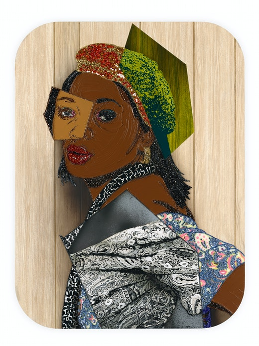 This is an artwork titled Portrait of Qusuquzah #6 by artist Mickalene Thomas made in 2015
