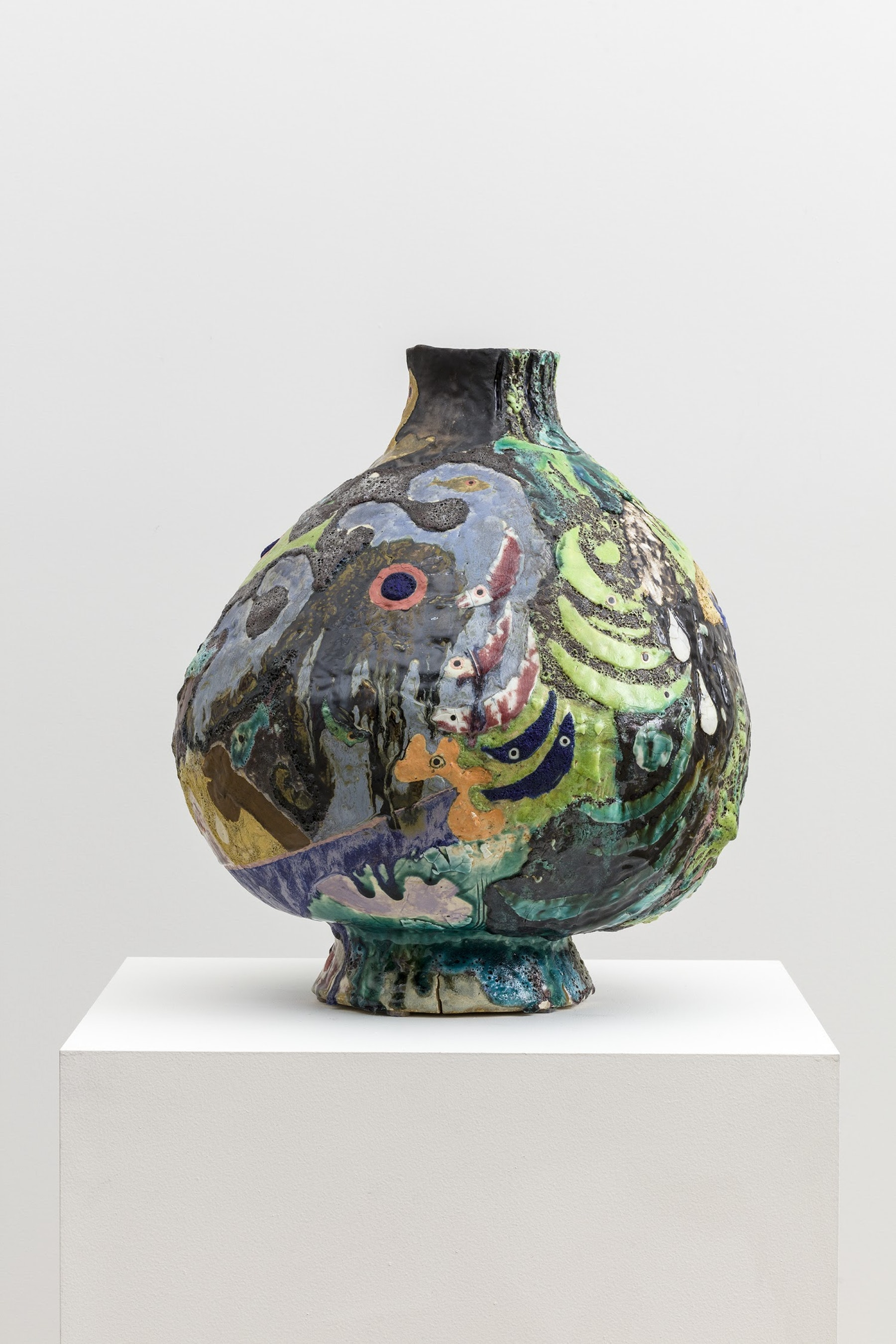 "Tam Van Tran ""Divinations Jar ll,"" 2019 High fire Ceramic 23 x 19 x 20"" [HxWxD] (58.42 x 48.26 x 50.8 cm) Inventory #TRA356 Courtesy of the artist and Vielmetter Los Angeles Photo credit: Jeff McLane"