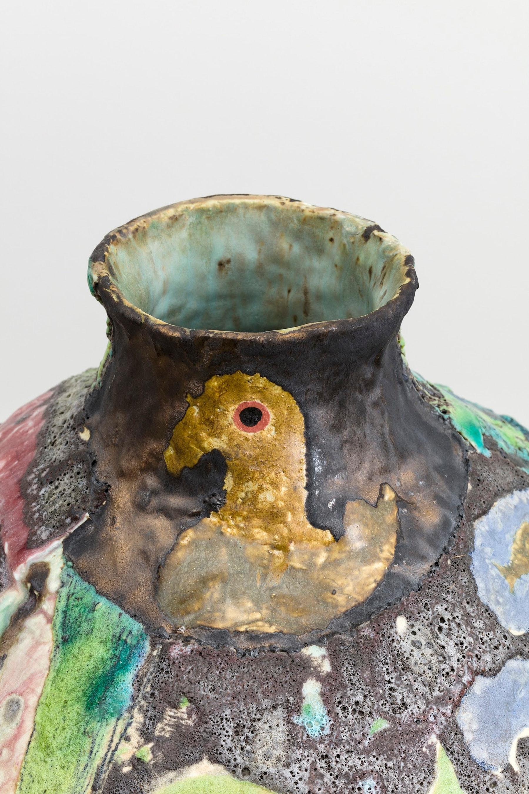 "Tam Van Tran ""Divinations Jar ll,"" 2019 High fire Ceramic 23 x 19 x 20"" [HxWxD] (58.42 x 48.26 x 50.8 cm) Inventory #TRA356 Courtesy of the artist and Vielmetter Los Angeles Photo credit: Jeff McLane"