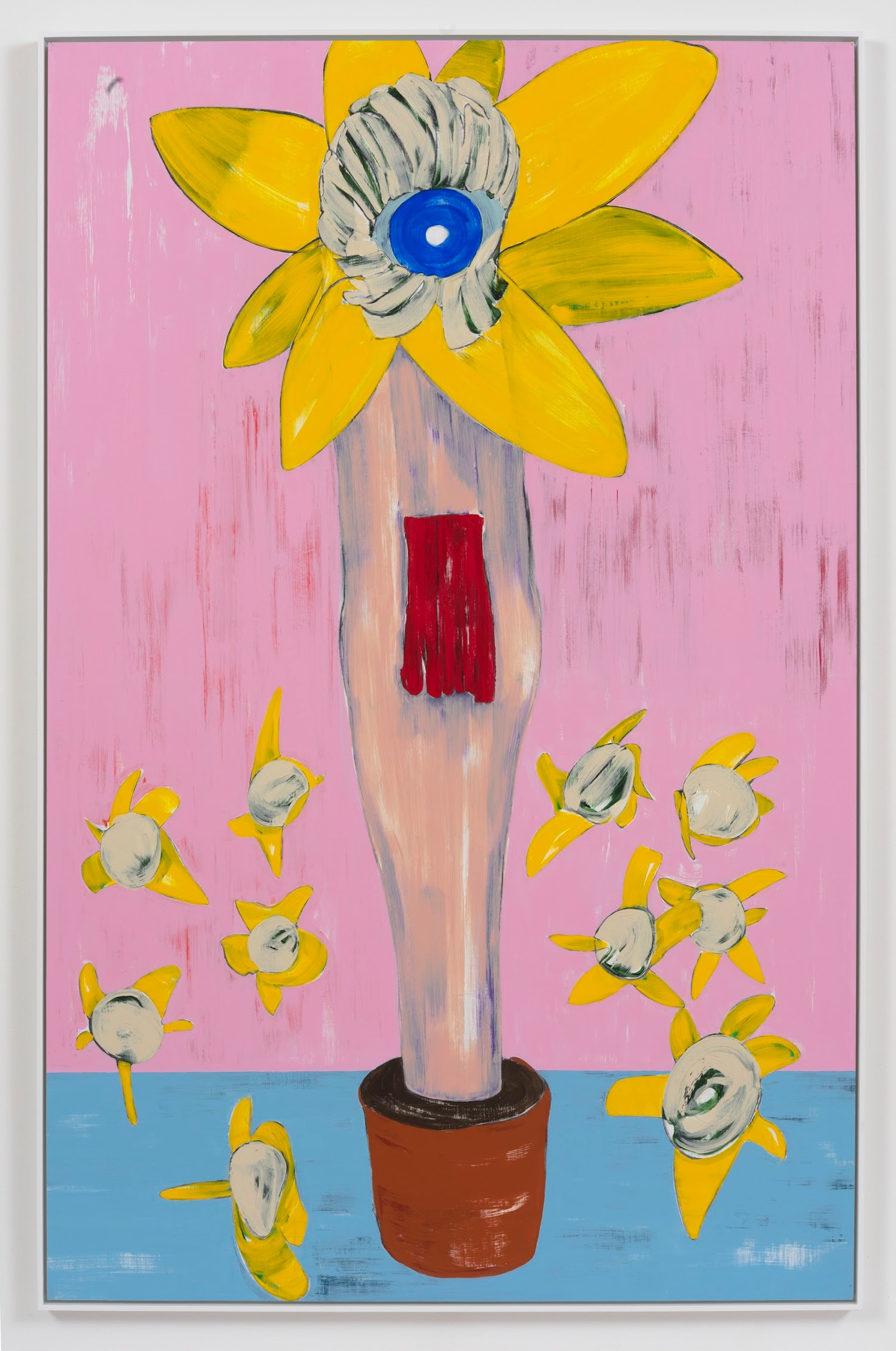 """Nicola Tyson """"Flowerpot,"""" 2013 Acrylic on unstretched linen 85"""" H x 54.50"""" W (215.9 cm H x 138.43 cm W) Inventory #TYS114 Courtesy of the artist and Vielmetter Los Angeles Photo credit: Robert Wedemeyer On reverse"""