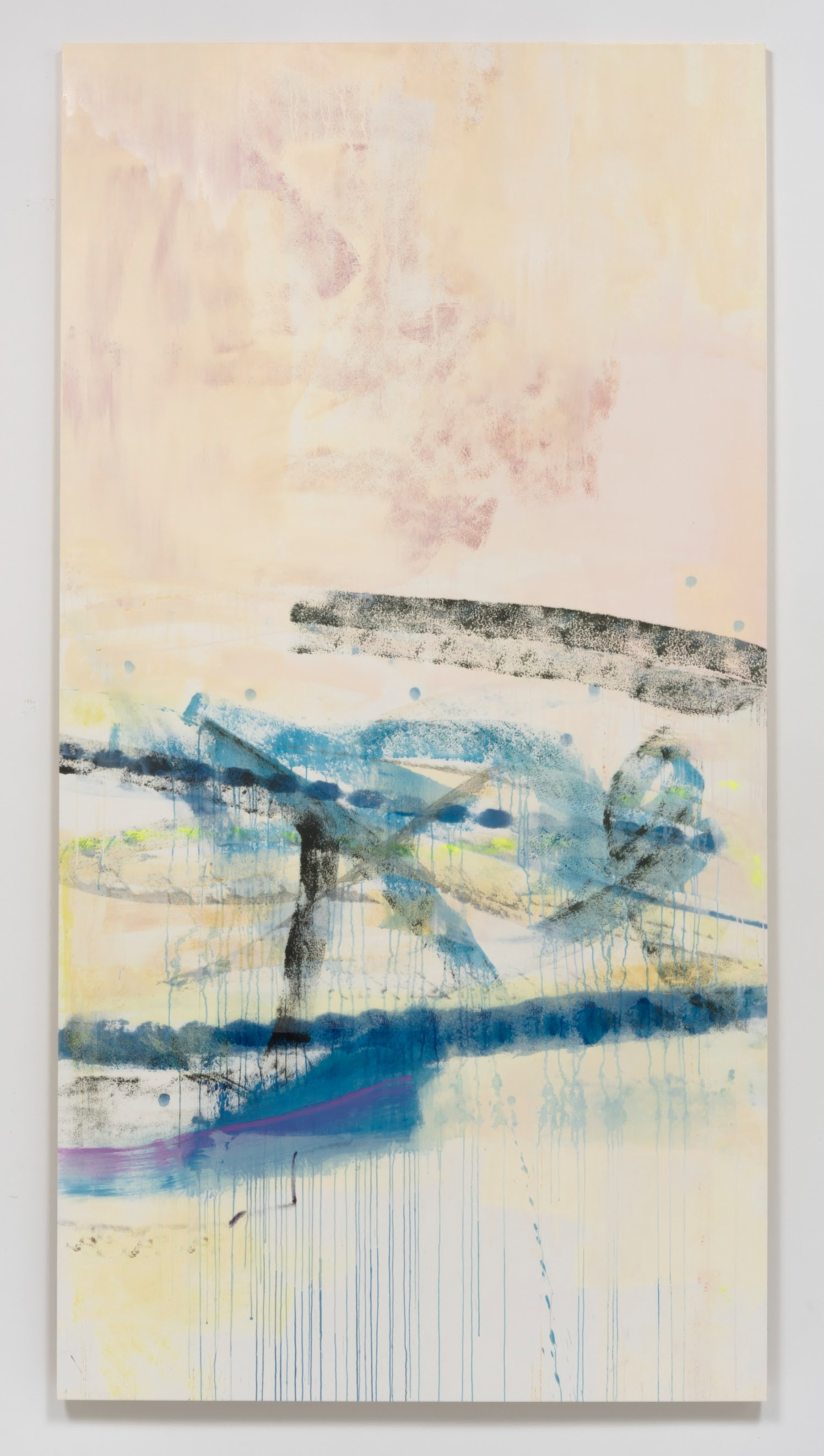"""Monique Van Genderen """"Untiled,"""" 2017 Oil and pigment on paper on aluminum panel 96"""" x 50"""" x 1 ¹⁄₂"""" [HxWxD] (243.84 x 127 x 3.81 cm) Inventory #VGE324 Courtesy of the artist and Vielmetter Los Angeles Photo credit: Robert Wedemeyer"""