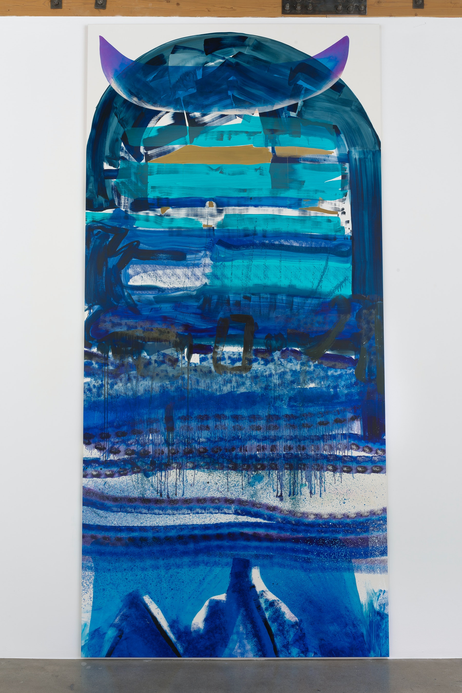 """Monique Van Genderen """"Untitled,"""" 2017 Oil and pigment on linen 13' 9"""" x 78"""" x 1 ¹⁄₄"""" [HxWxD] (419.1 x 198.12 x 3.18 cm) Inventory #VGE336 Courtesy of the artist and Vielmetter Los Angeles Photo credit: Robert Wedemeyer"""