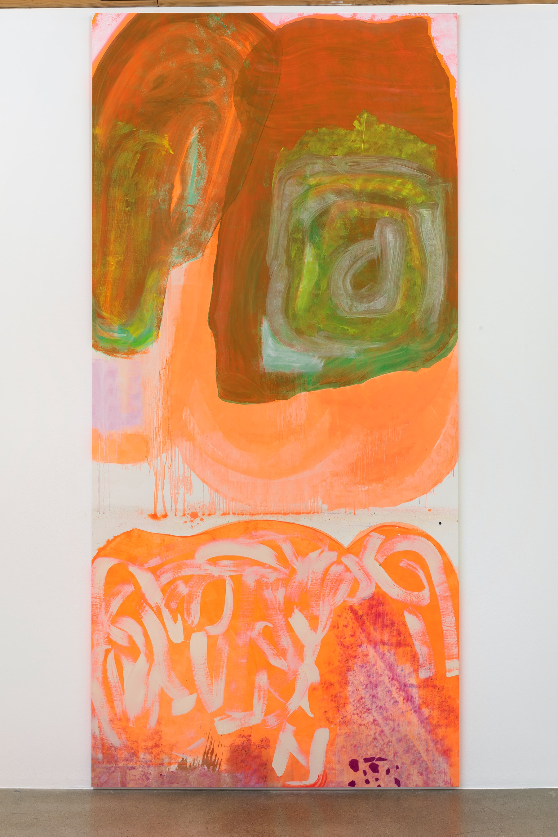 """Monique Van Genderen """"Untitled,"""" 2016 Oil and pigment on linen 13' 9"""" x 78"""" x 1 ¹⁄₄"""" [HxWxD] (419.1 x 198.12 x 3.18 cm) Inventory #VGE337 Courtesy of the artist and Vielmetter Los Angeles Photo credit: Robert Wedemeyer"""