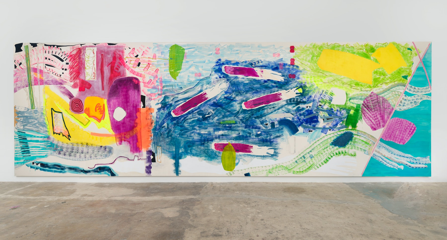 """Monique Van Genderen """"B Side,"""" 2021 Oil and pigment on canvas 11' ¹⁄₂"""" x 35' [HxW] (336.55 x 1066.8 cm) Inventory #VGE405 Courtesy of the artist and Vielmetter Los Angeles Photo Credit: Jeff McLane"""