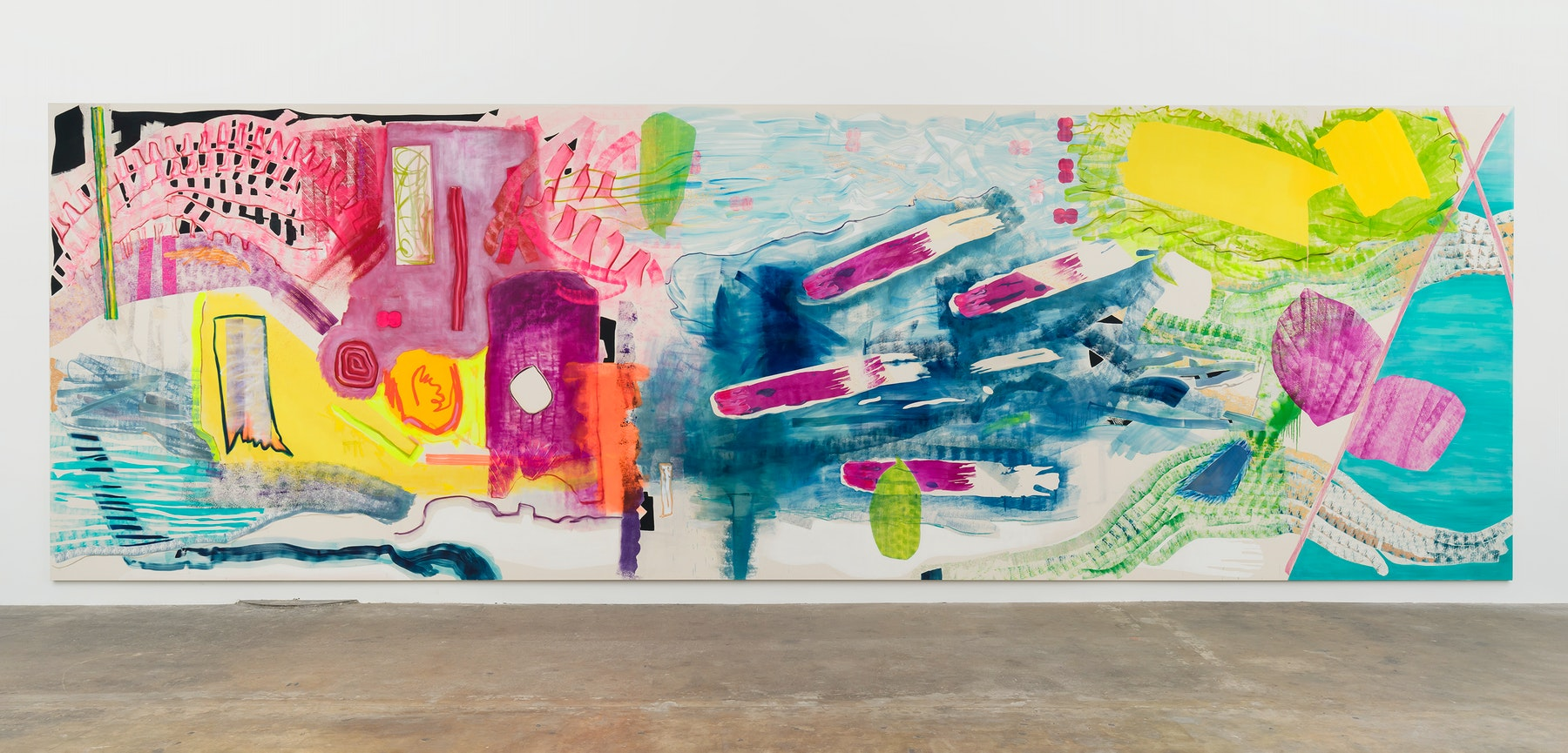"""Monique Van Genderen """"A Side,"""" 2021 Oil and pigment on canvas 11' ¹⁄₂"""" x 35' [HxW] (336.55 x 1066.8 cm) Inventory #VGE406 Courtesy of the artist and Vielmetter Los Angeles Photo Credit: Jeff McLane"""